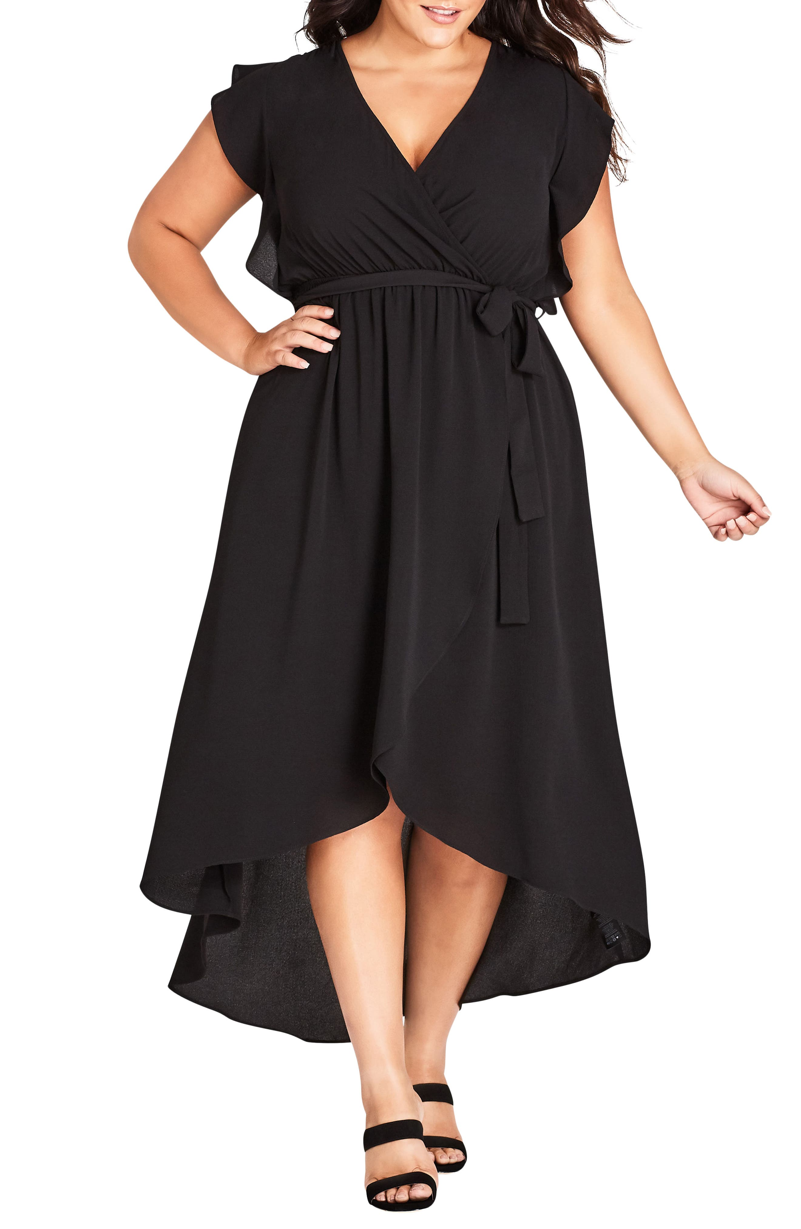 Lolita High/Low Maxi Dress,                             Main thumbnail 1, color,                             BLACK