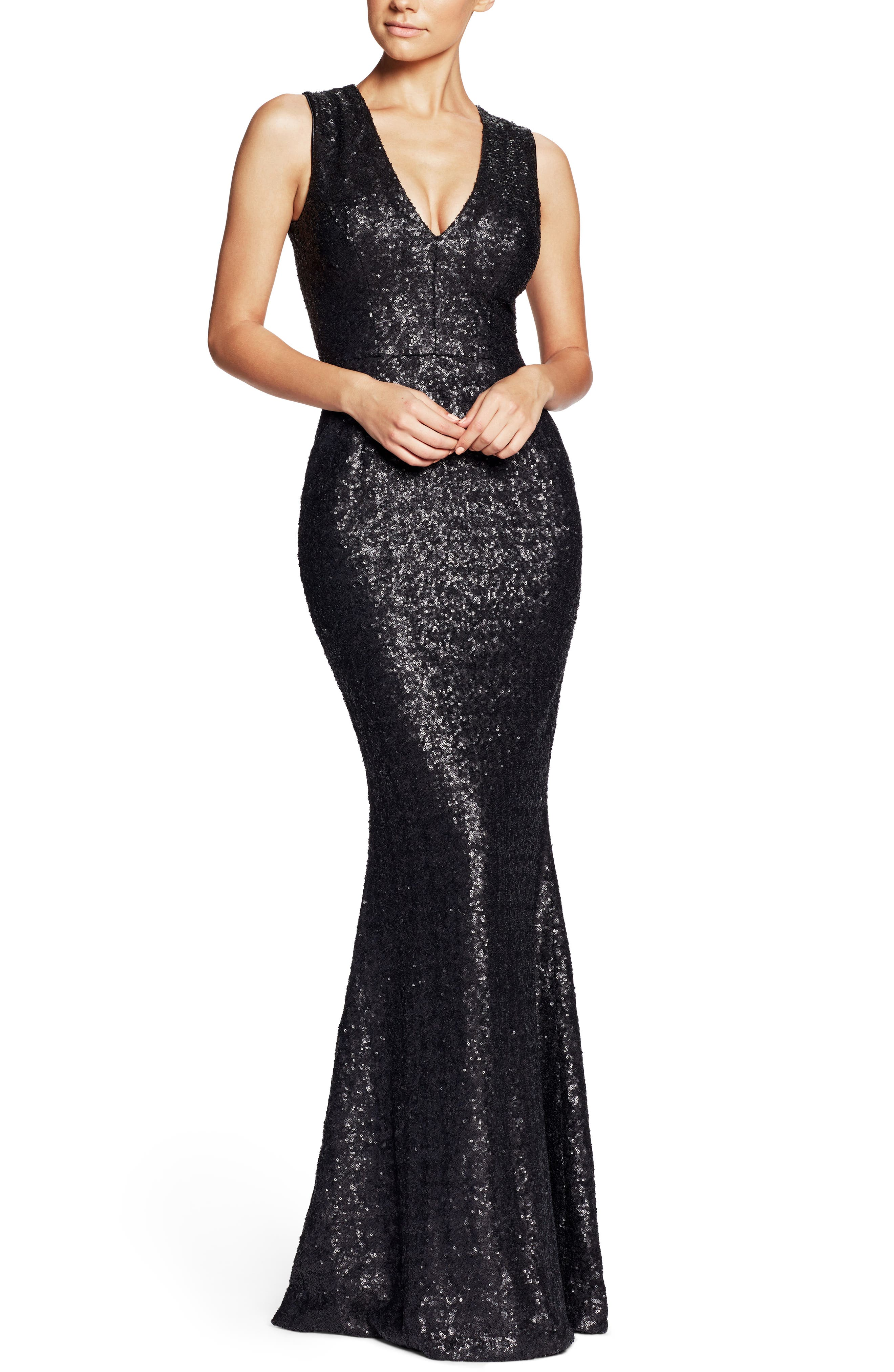 DRESS THE POPULATION, Karina Plunge Mermaid Gown, Main thumbnail 1, color, 018