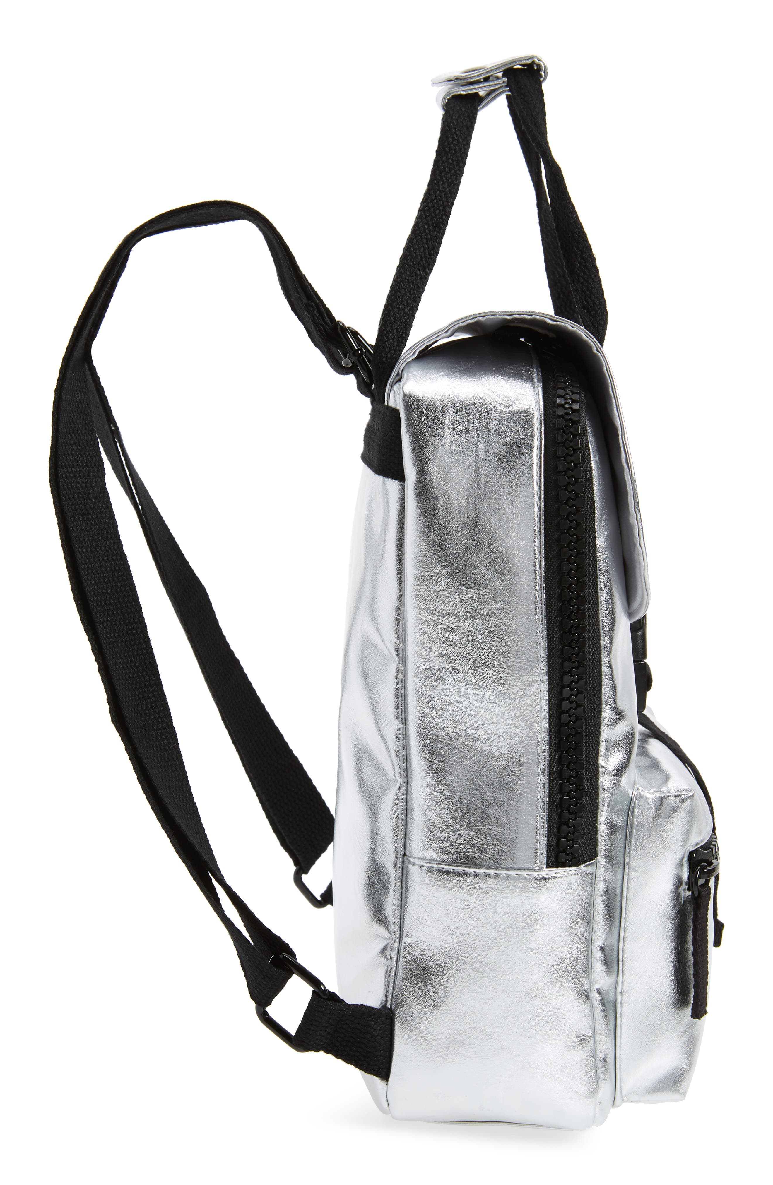 Mini Metallic Utility Backpack,                             Alternate thumbnail 5, color,                             PEWTER