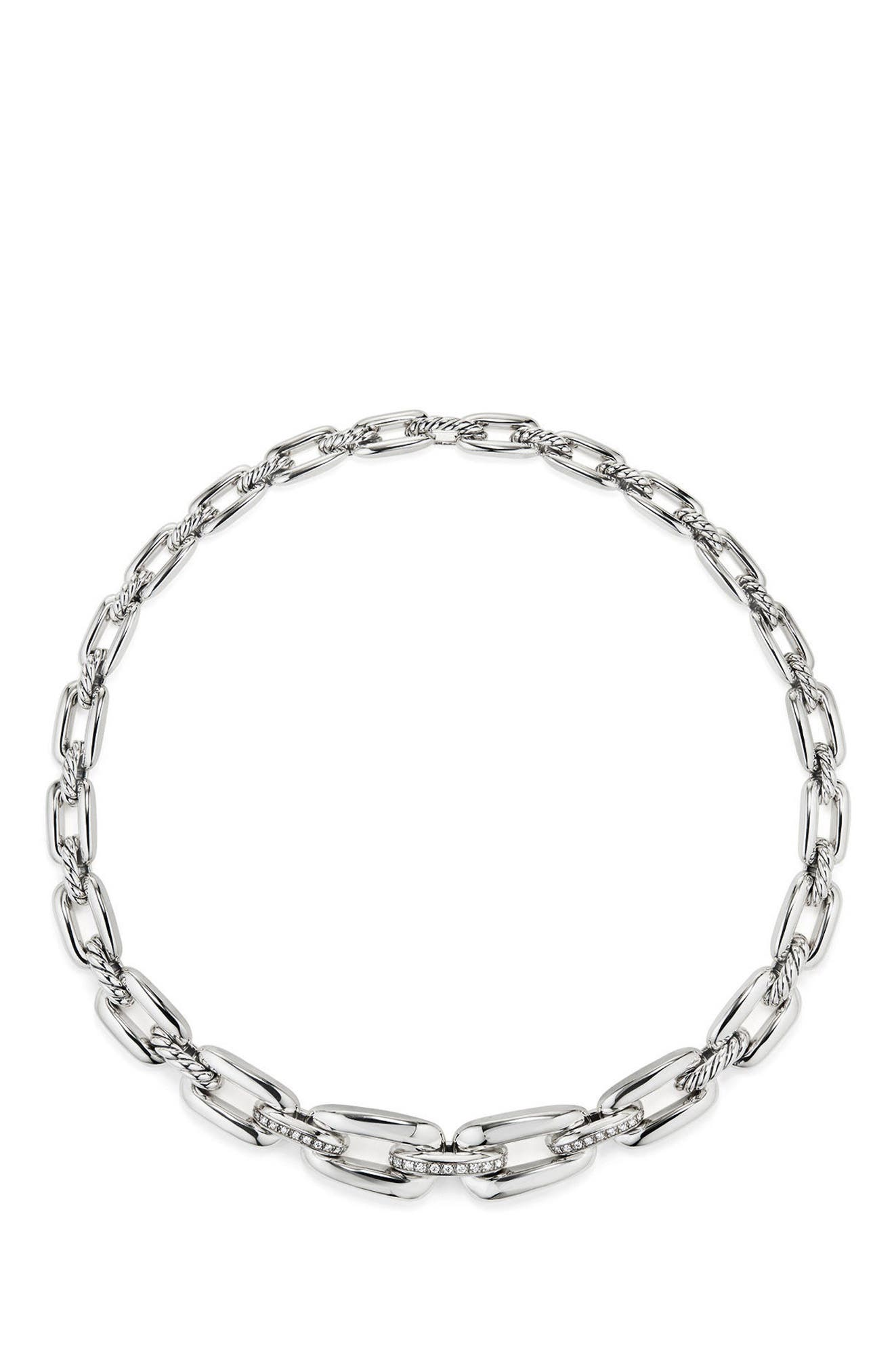 Wellesley Short Chain Necklace with Diamonds,                             Alternate thumbnail 2, color,                             SILVER