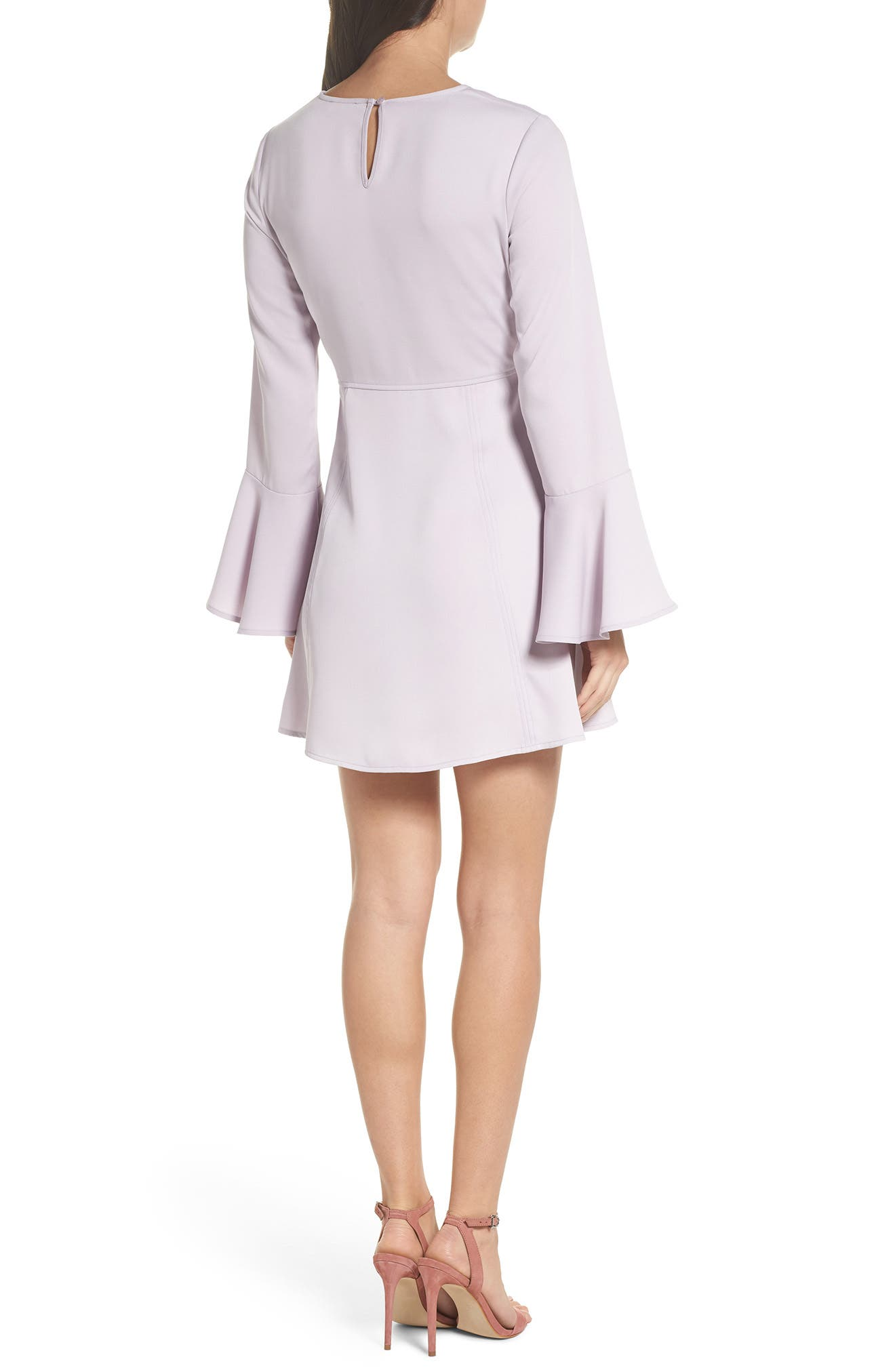 Bell Sleeve Fit & Flare Dress,                             Alternate thumbnail 4, color,