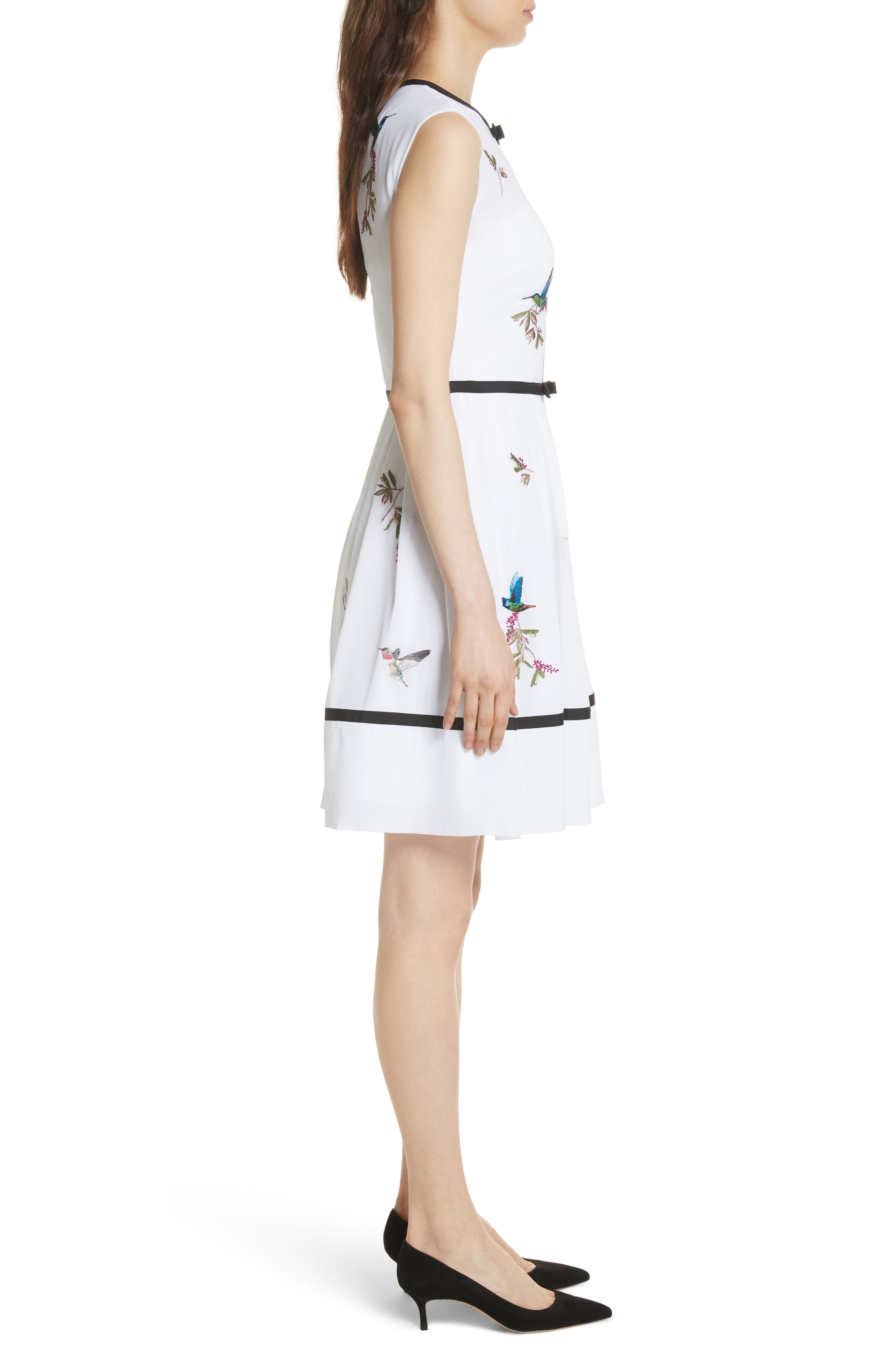 Bow Trim Embroidered Dress,                             Alternate thumbnail 3, color,                             110