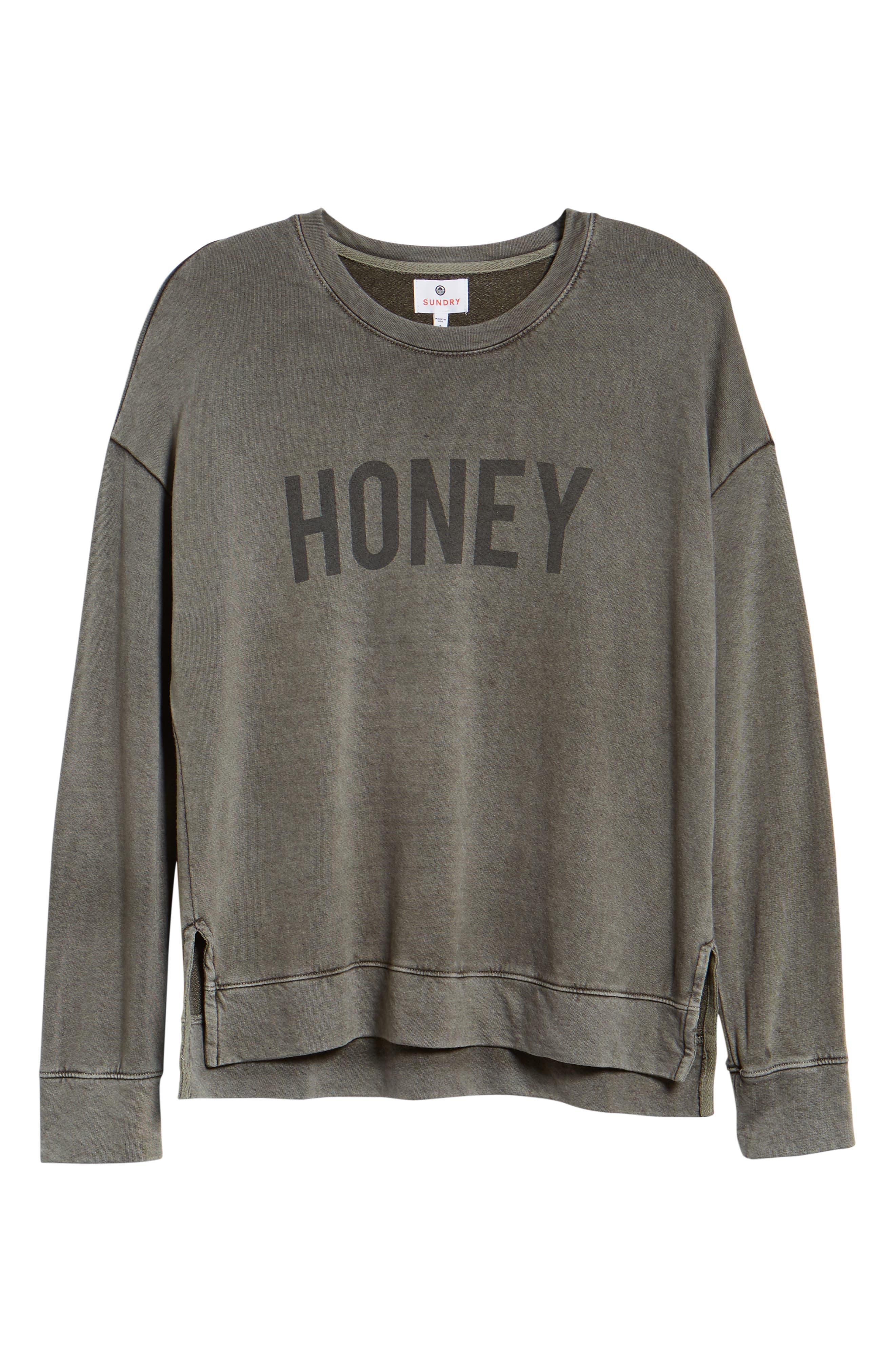 Honey Faded Sweatshirt,                             Alternate thumbnail 6, color,                             300