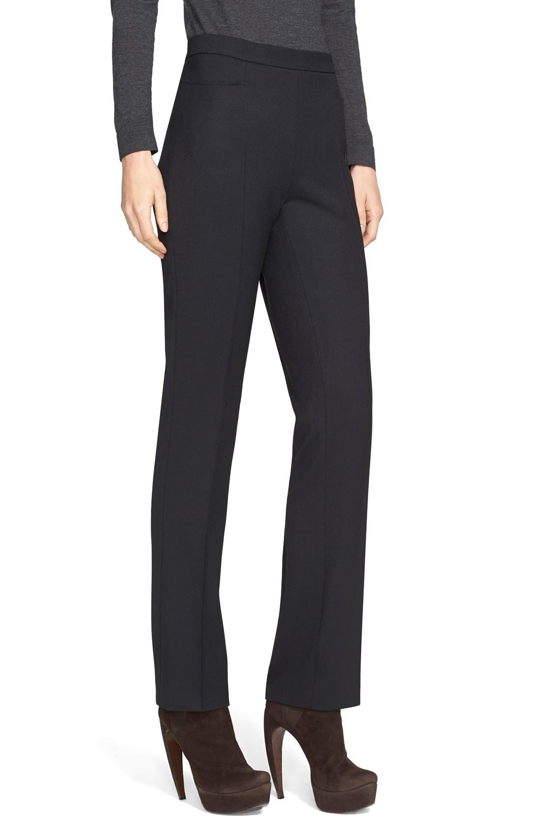 'Francoise' Stretch Gabardine Pants,                             Main thumbnail 1, color,                             BLACK