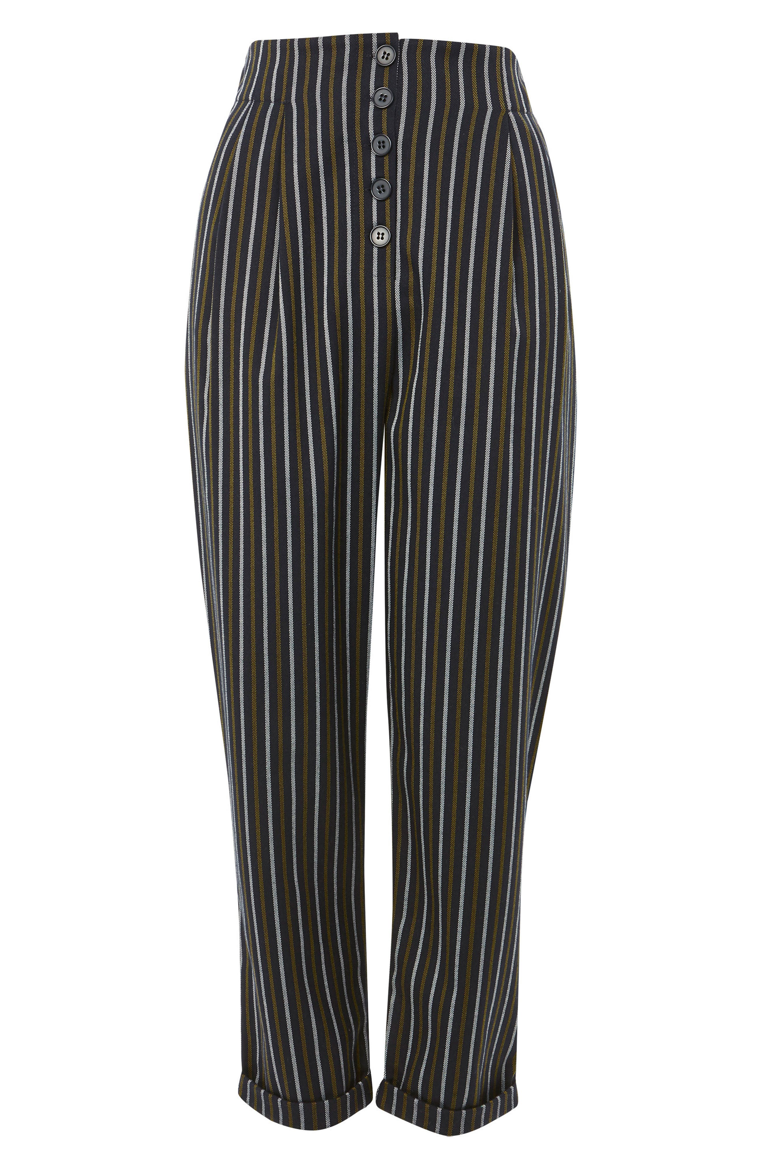 Button Front Stripe Tapered Trousers,                             Alternate thumbnail 8, color,