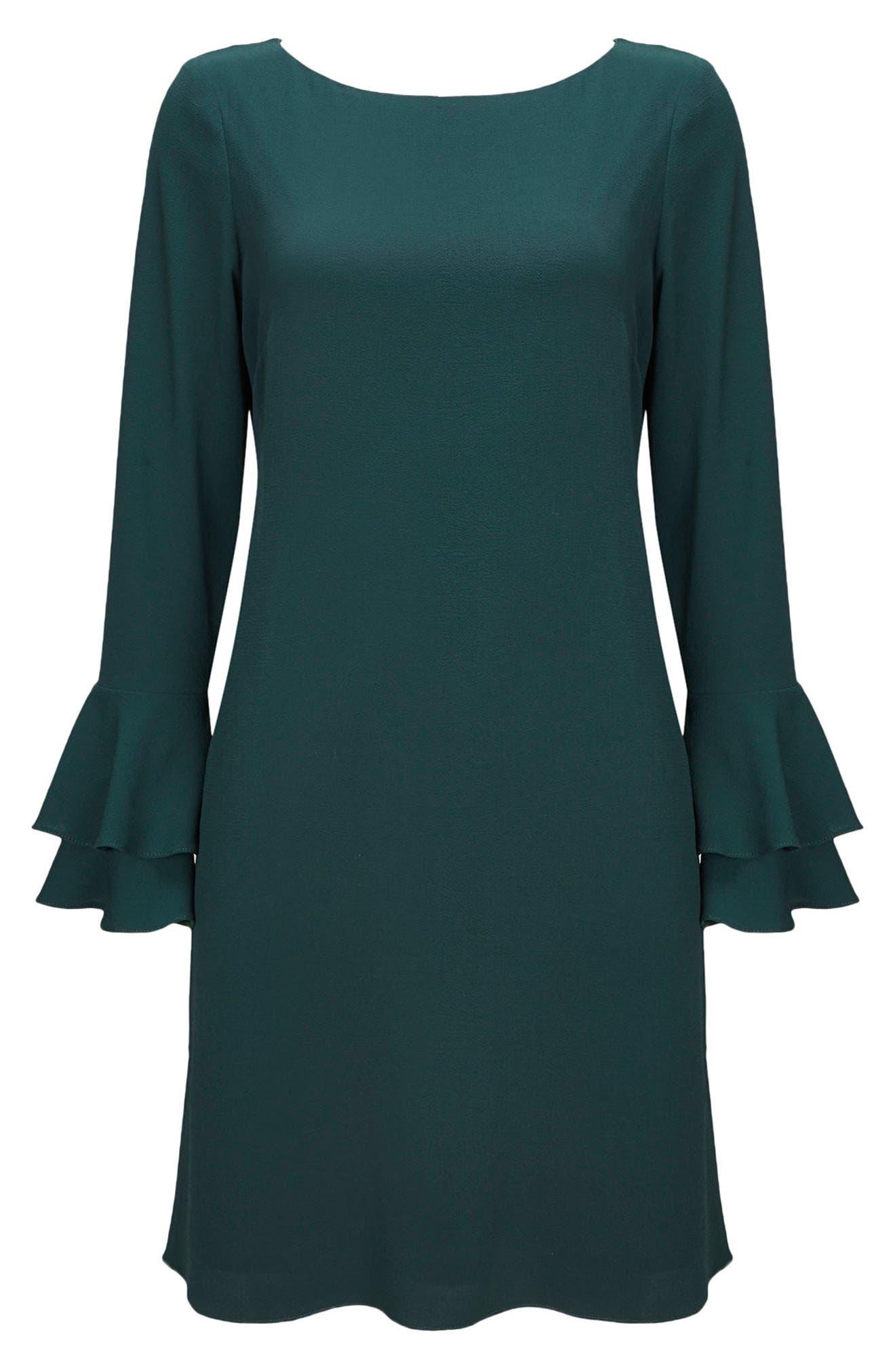 Double Bell Sleeve Shift Dress,                             Alternate thumbnail 4, color,                             300