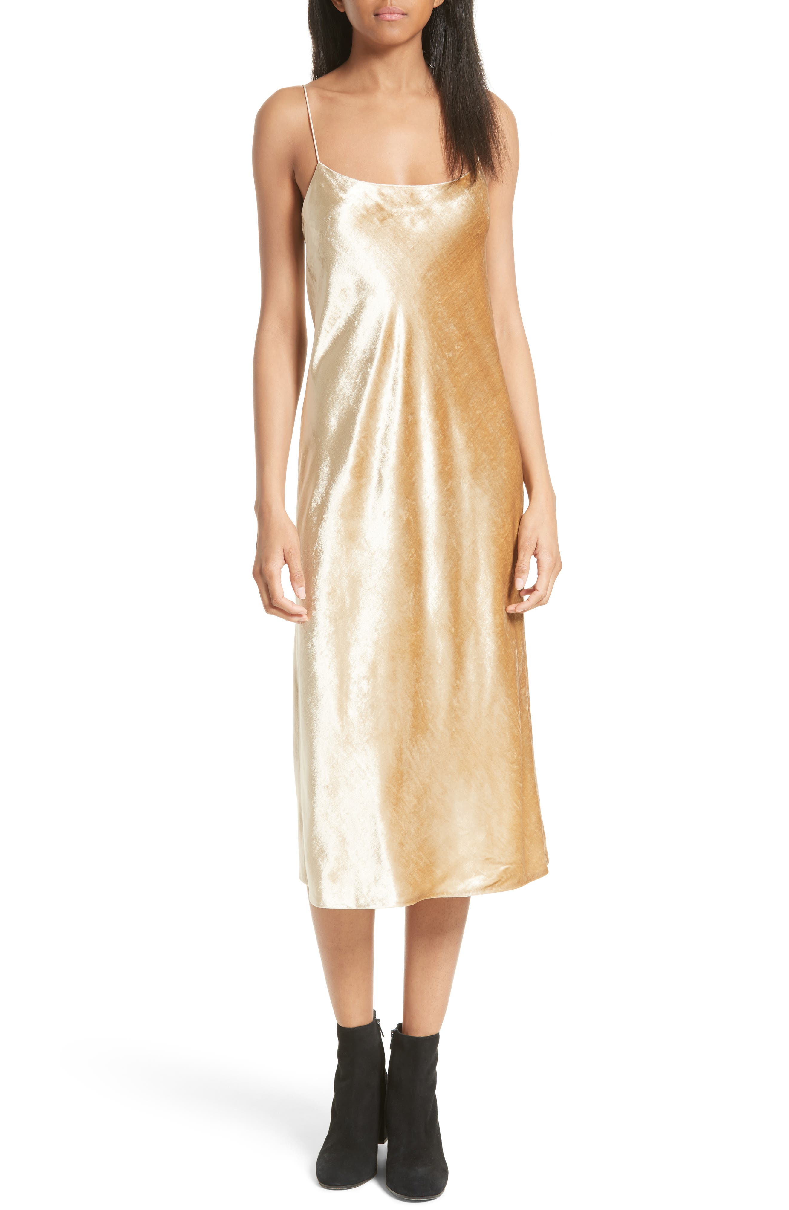Velvet Midi Slipdress,                             Main thumbnail 1, color,