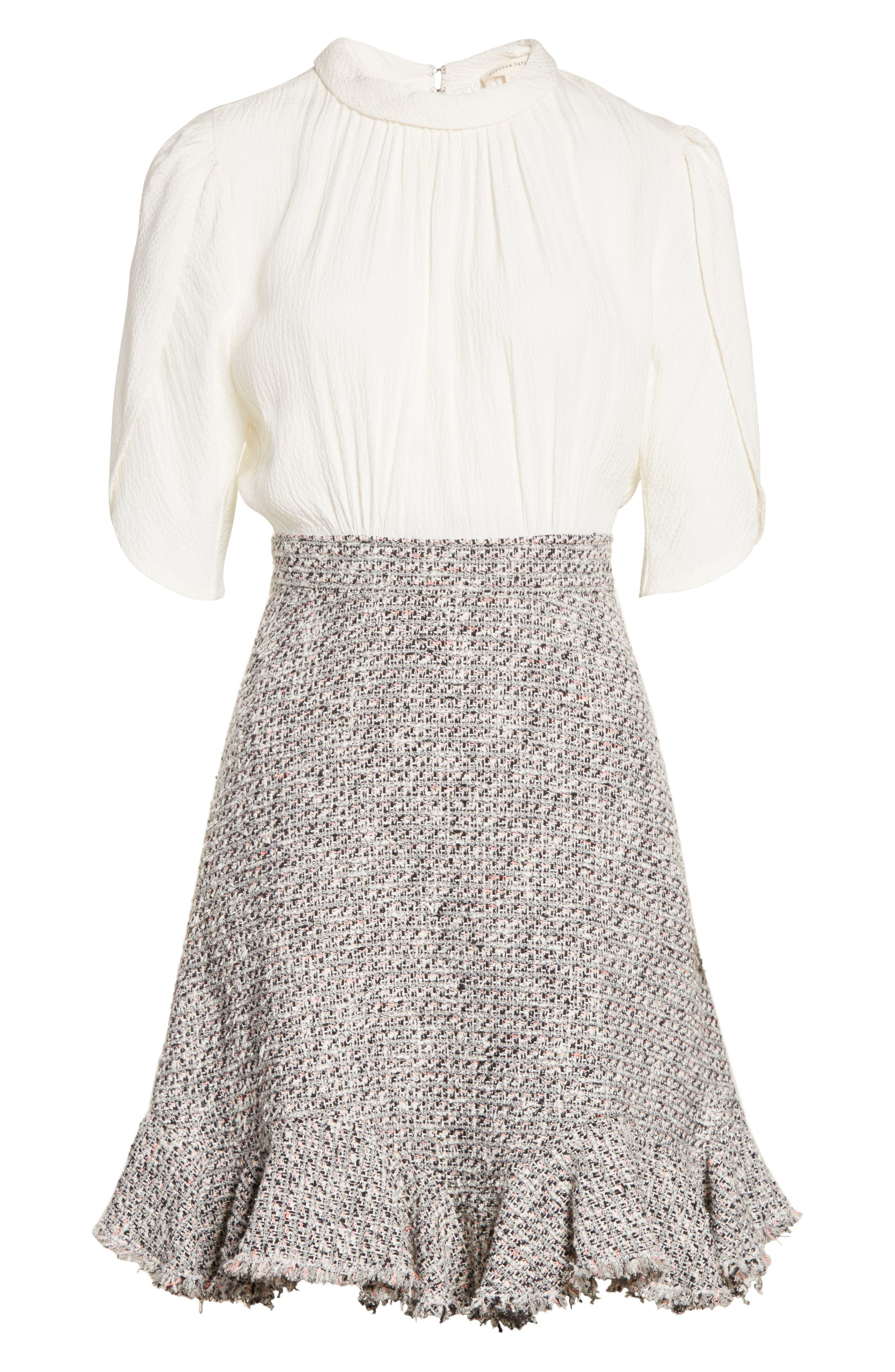 Silk & Tweed A-Line Dress,                             Alternate thumbnail 6, color,