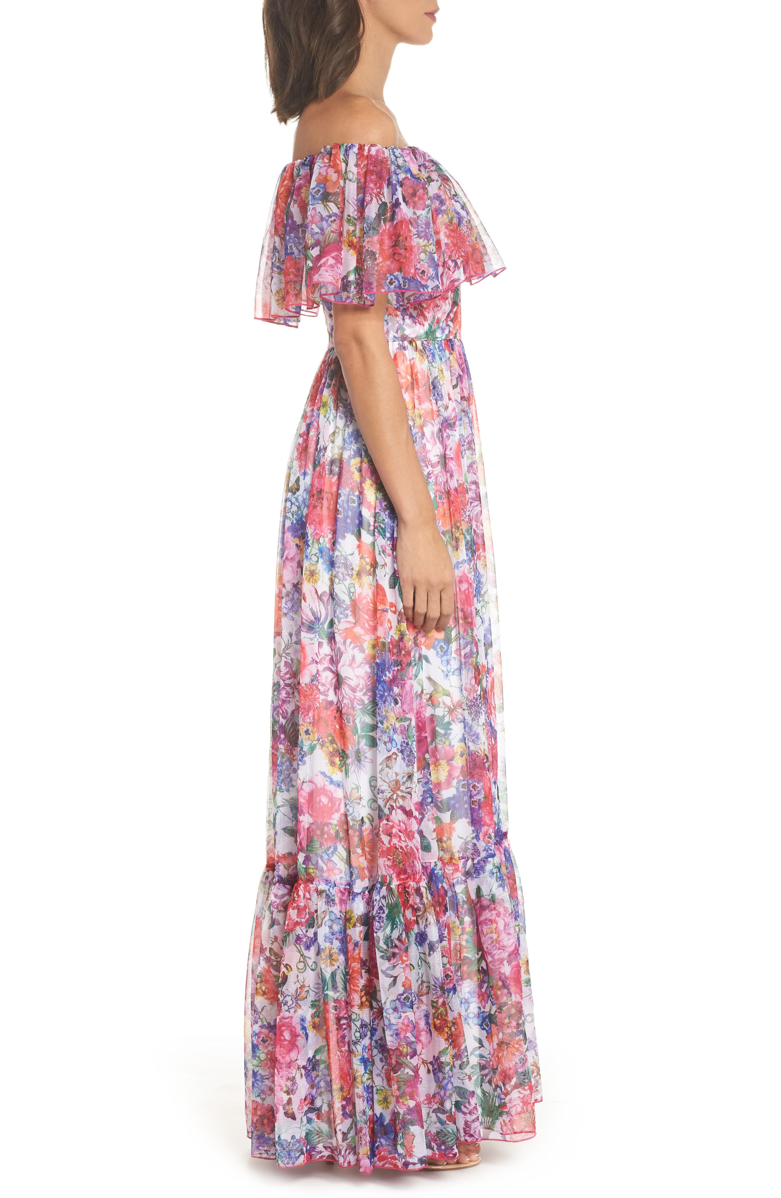Paola Floral Off the Shoulder Gown,                             Alternate thumbnail 3, color,                             650