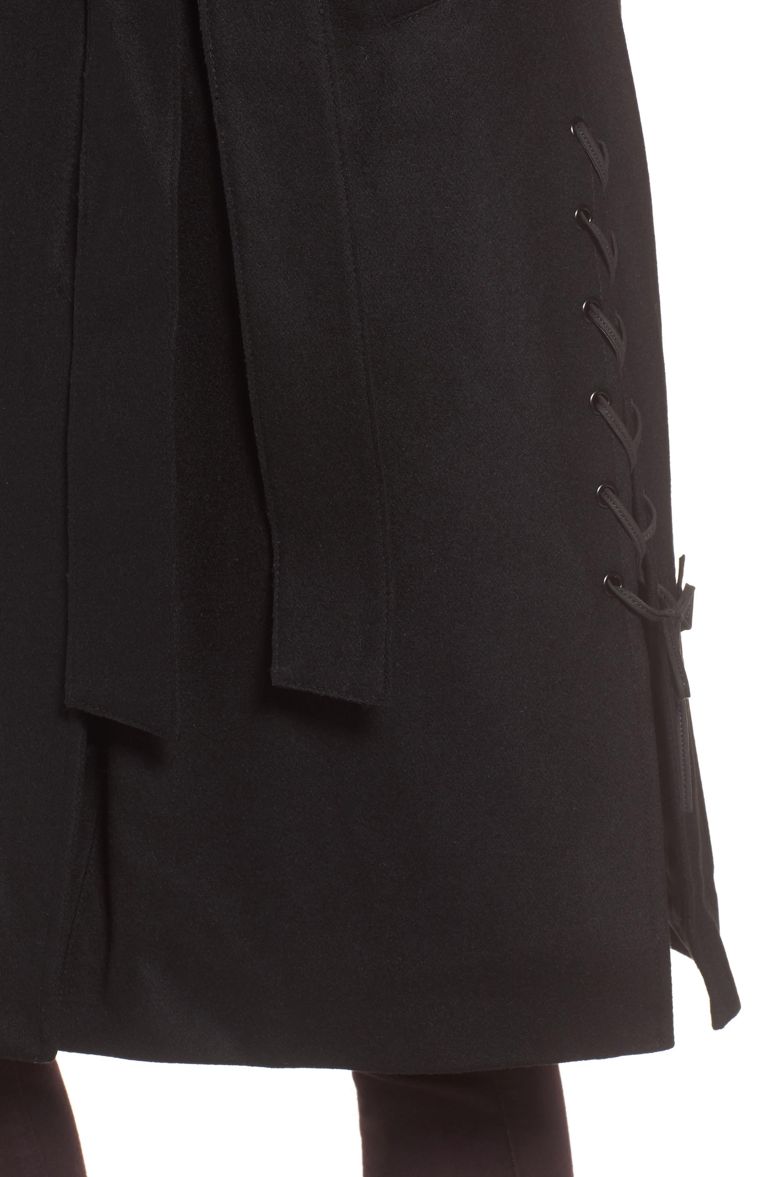 Baylee Asymmetrical Wool Blend Coat,                             Alternate thumbnail 4, color,                             001