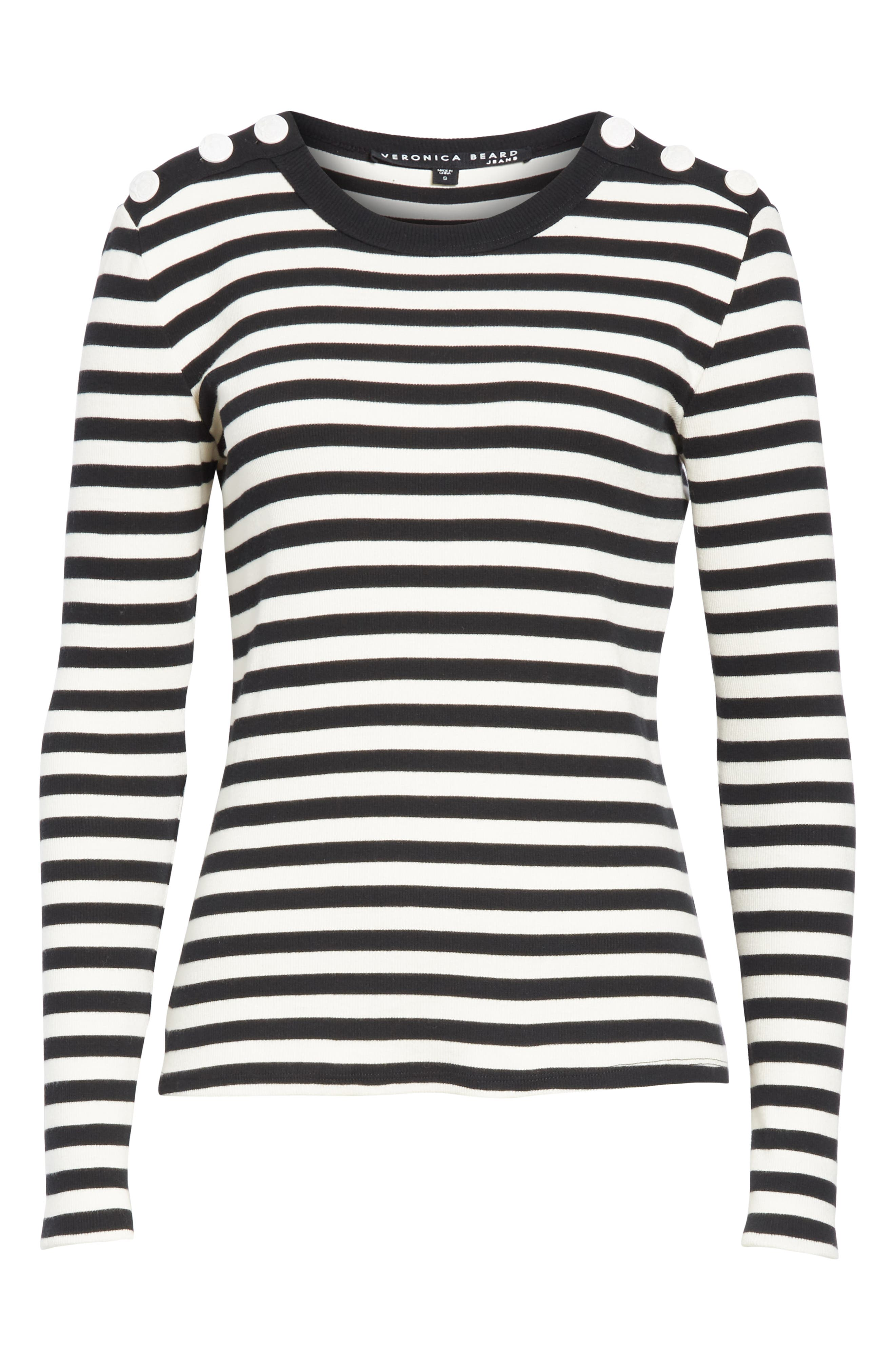 Mayer Button Shoulder Stripe Top,                             Alternate thumbnail 6, color,                             BLACK/ WHITE