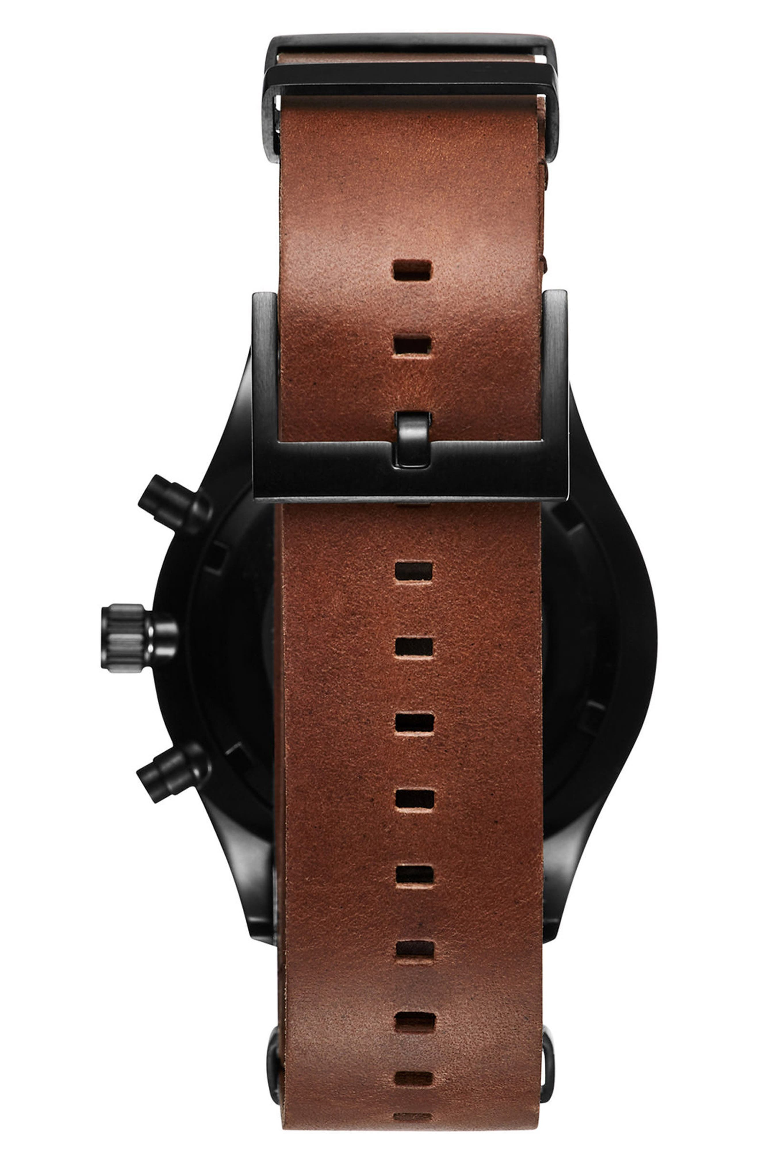MVMT,                             Voyager Chronograph Leather Strap Watch, 42mm,                             Alternate thumbnail 2, color,                             200