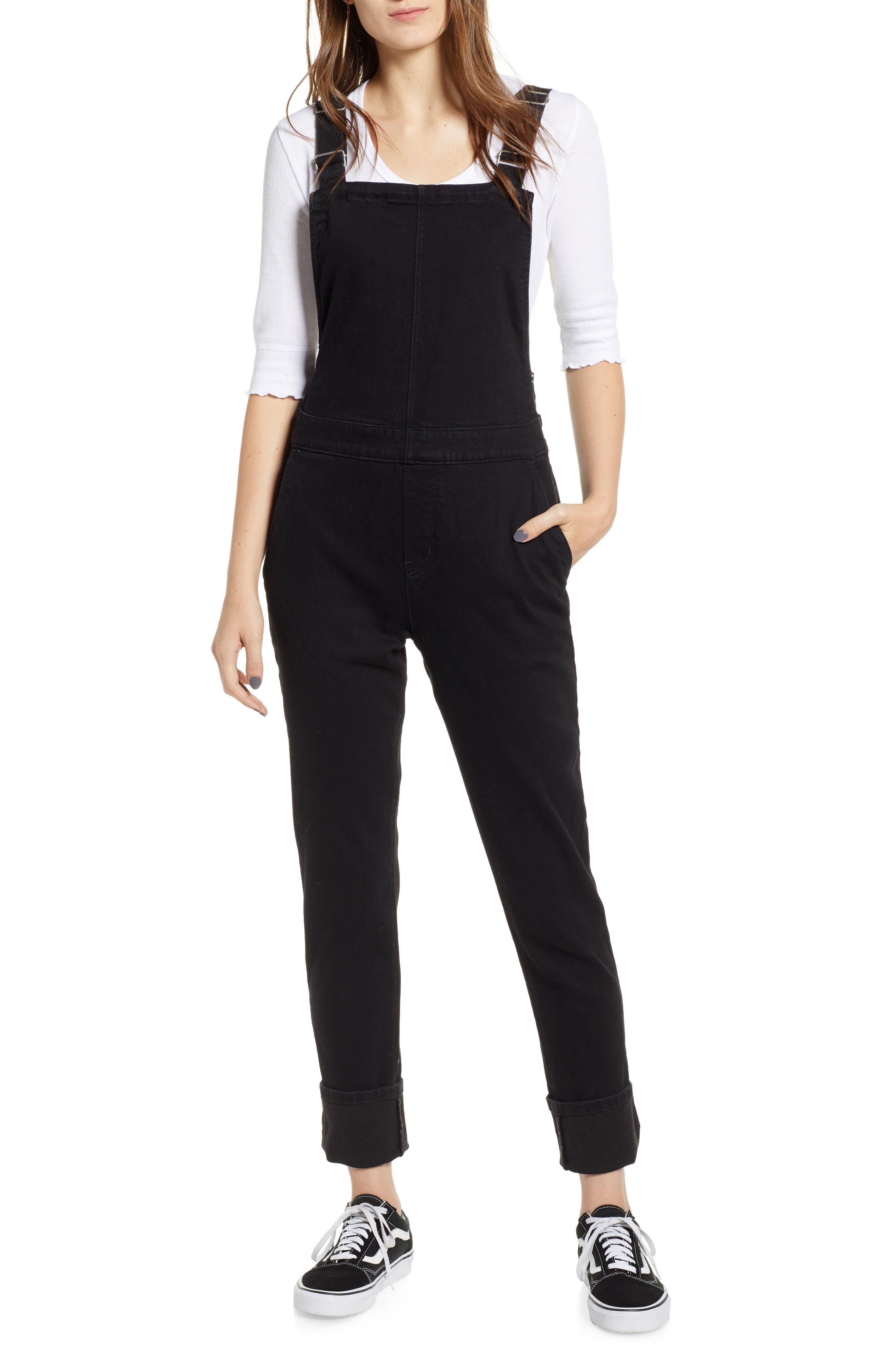 Denim Overalls,                         Main,                         color, BLACK