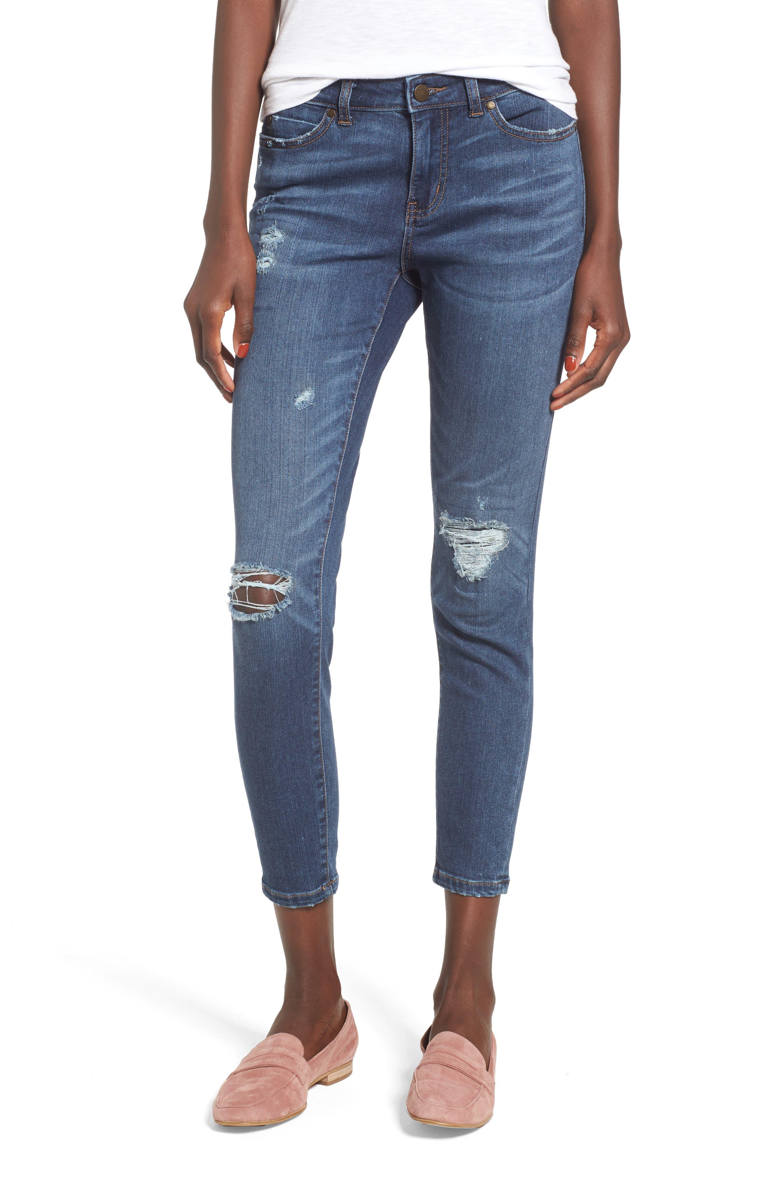 Rip & Repair Ankle Skinny Jeans,                         Main,                         color, 420
