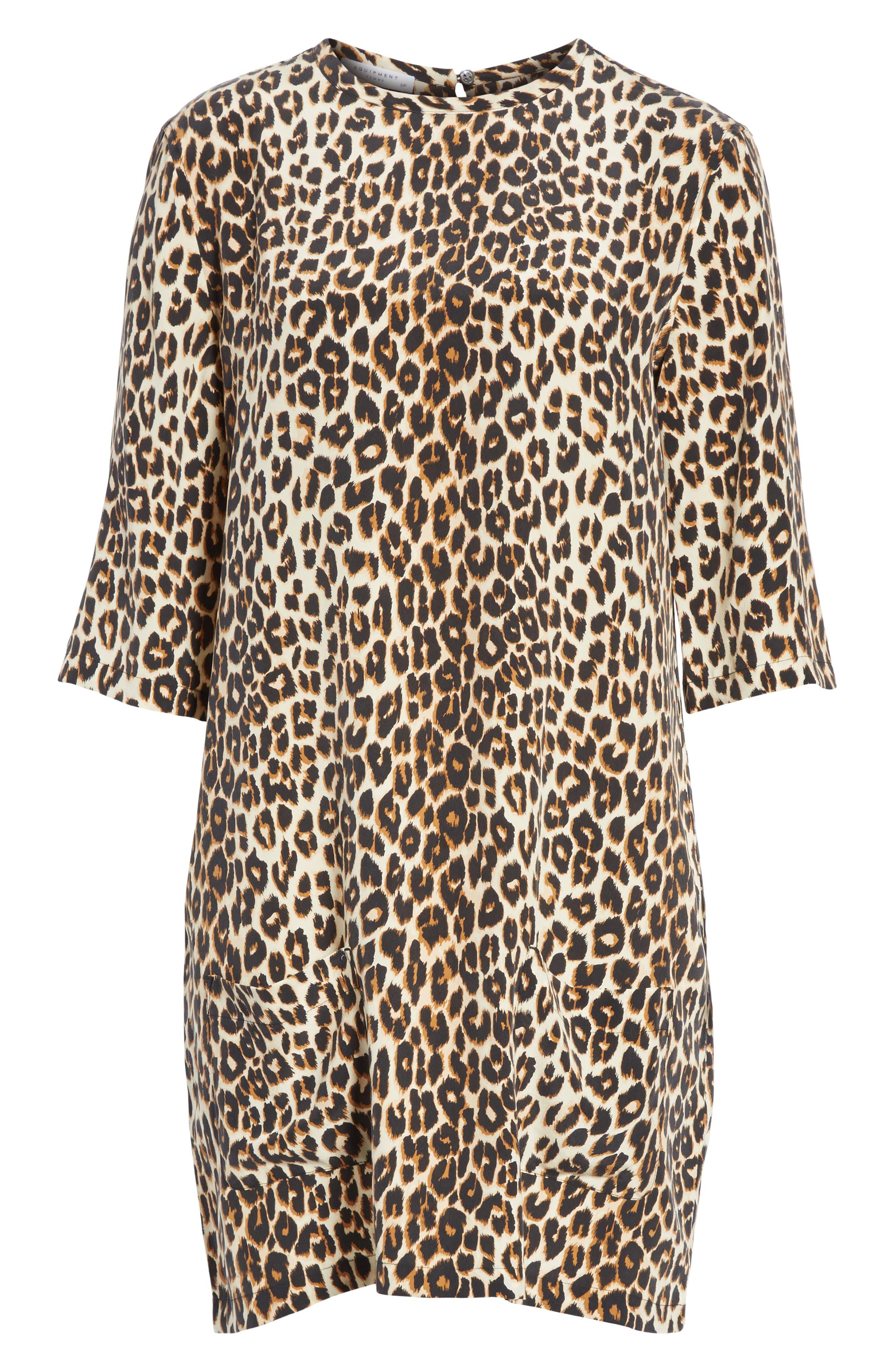Leopard Print Silk Shift Dress,                             Alternate thumbnail 6, color,                             101