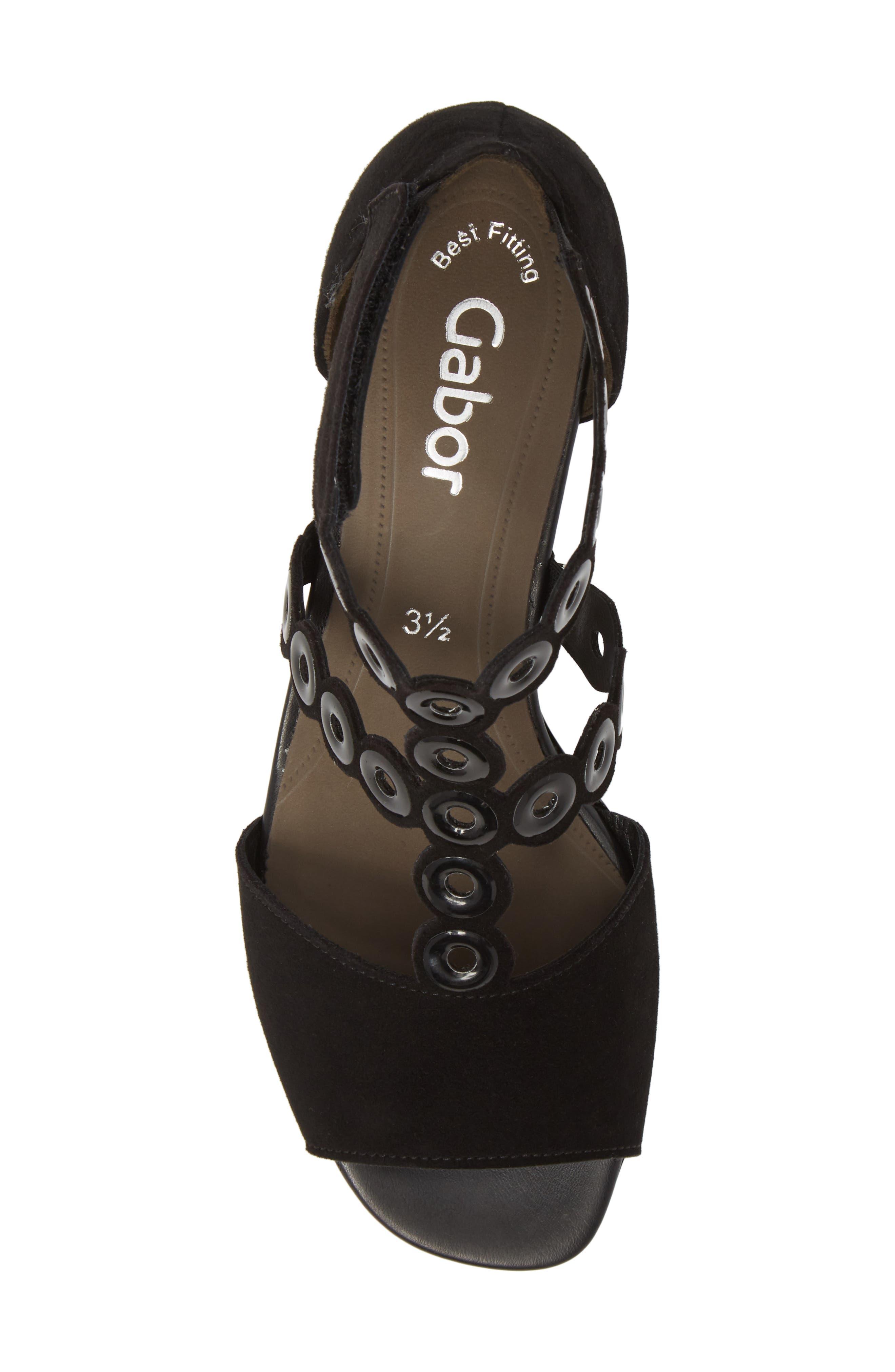 T-Strap Sandal,                             Alternate thumbnail 5, color,                             BLACK SUEDE