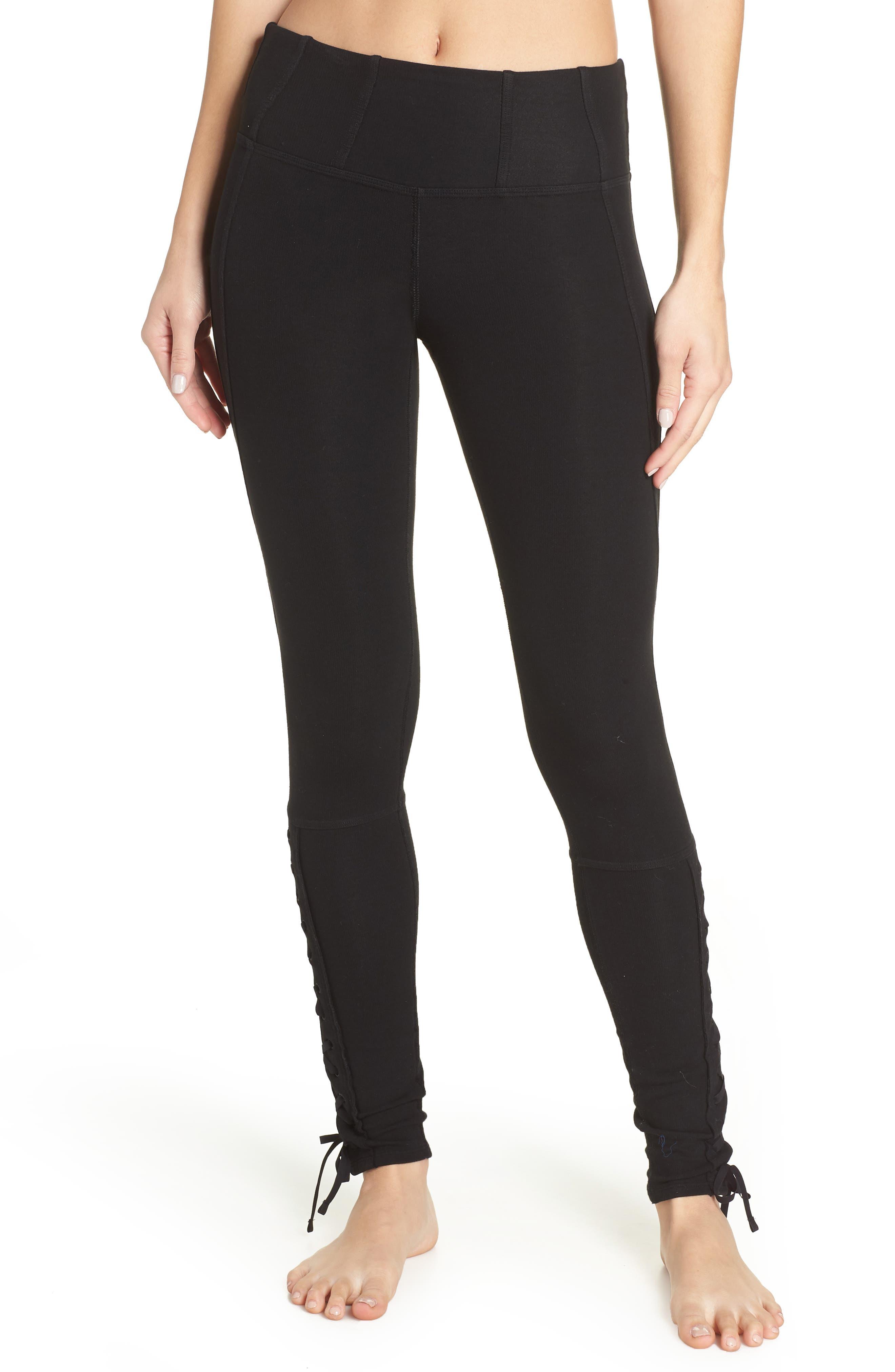 FP Movement Pixi Lace-Up Leggings,                         Main,                         color, BLACK