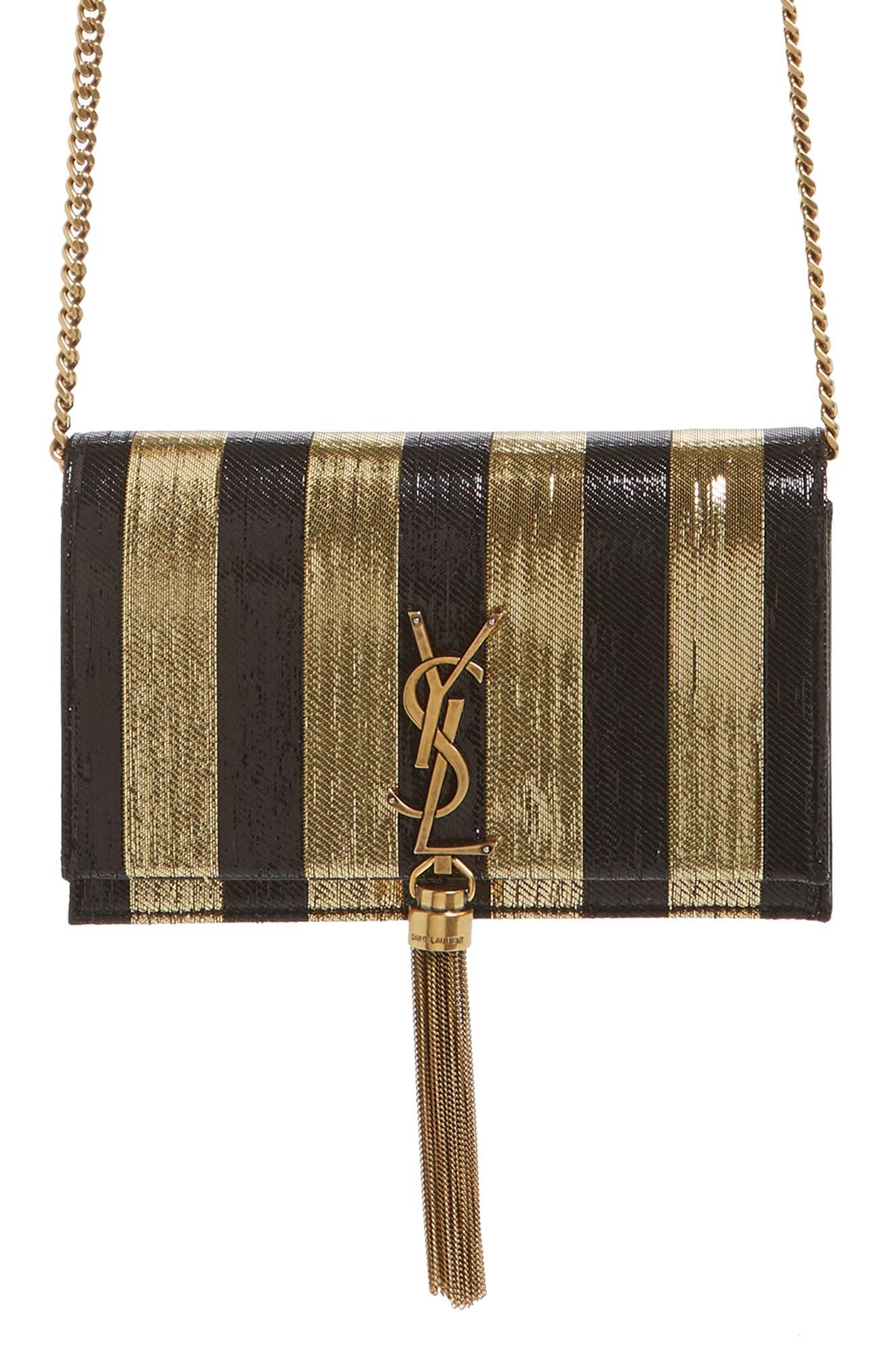 Kate Metallic Stripe Wallet on a Chain,                         Main,                         color, NERO/ ORO/ NERO