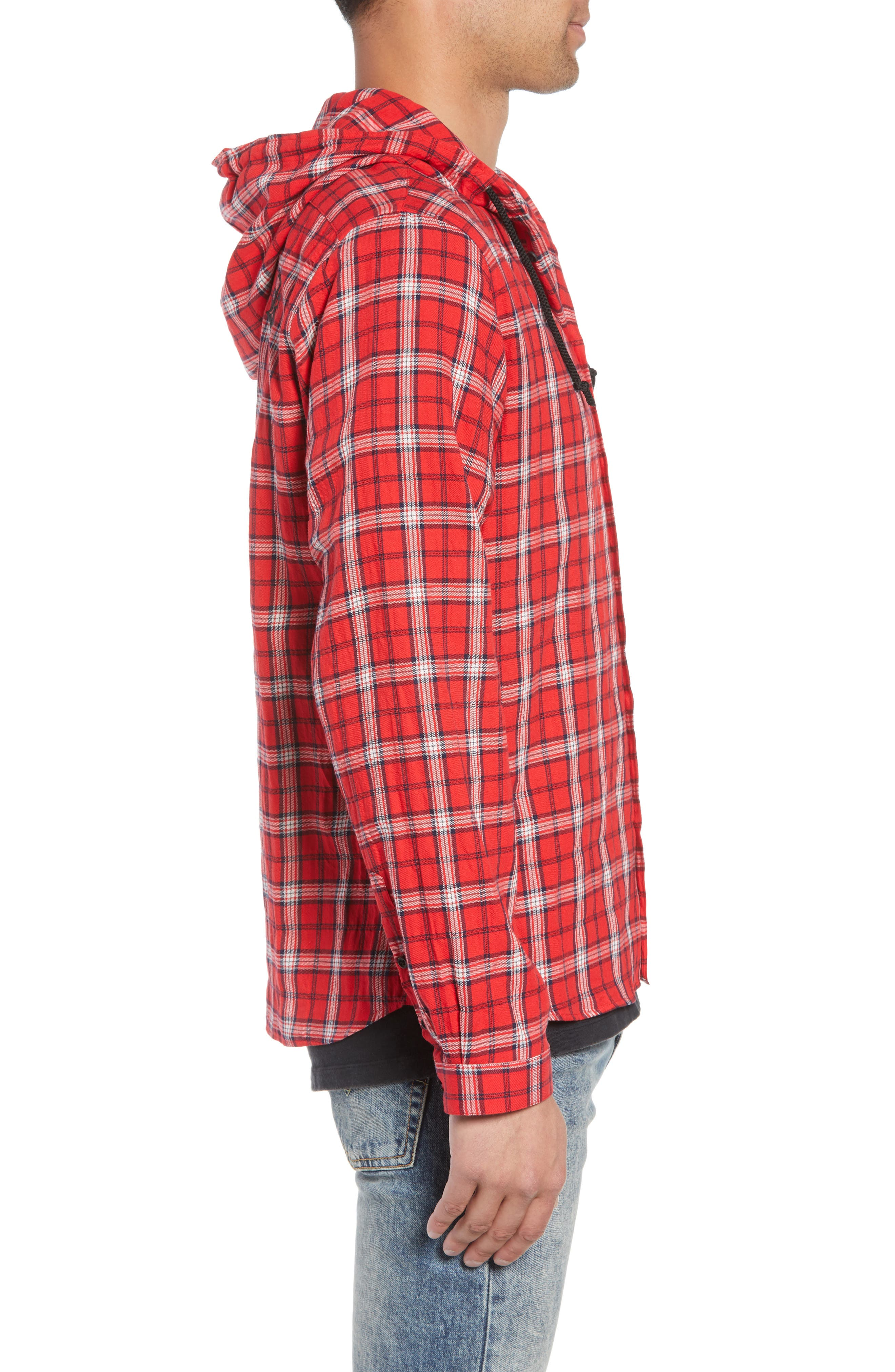 Checkered Classic Fit Hoodie Shirt Jacket,                             Alternate thumbnail 4, color,                             600