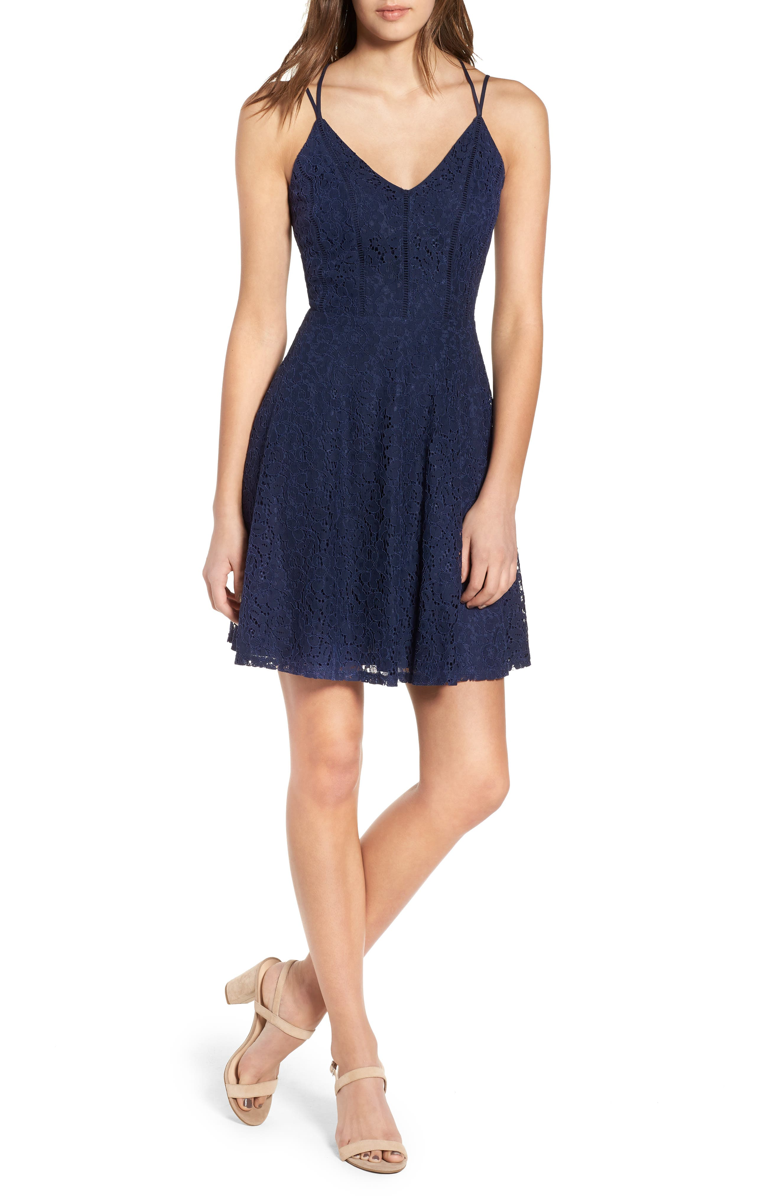 Strappy Lace Fit & Flare Dress,                             Main thumbnail 1, color,                             400