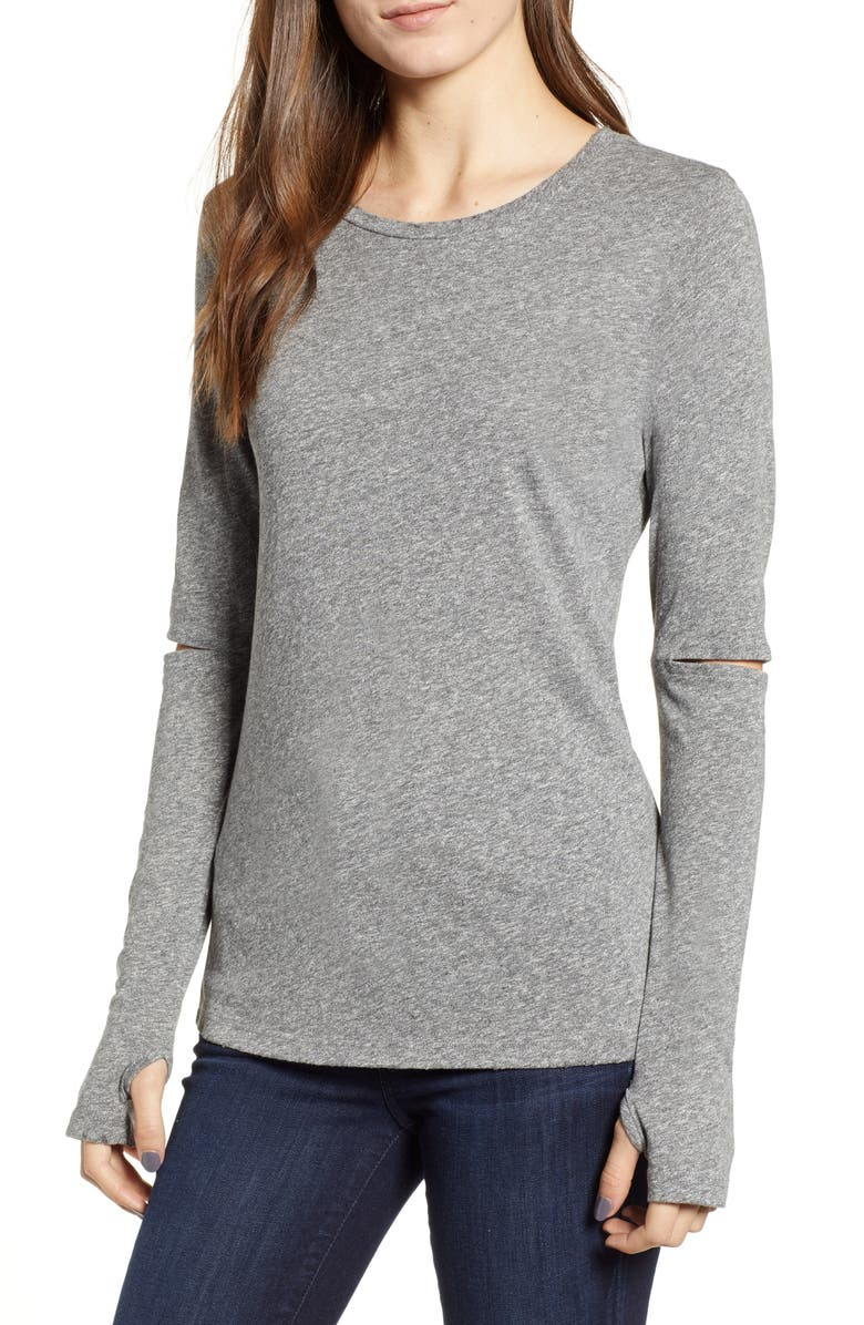 N:philanthropy SLEEVE CUTOUT HEATHERED TOP
