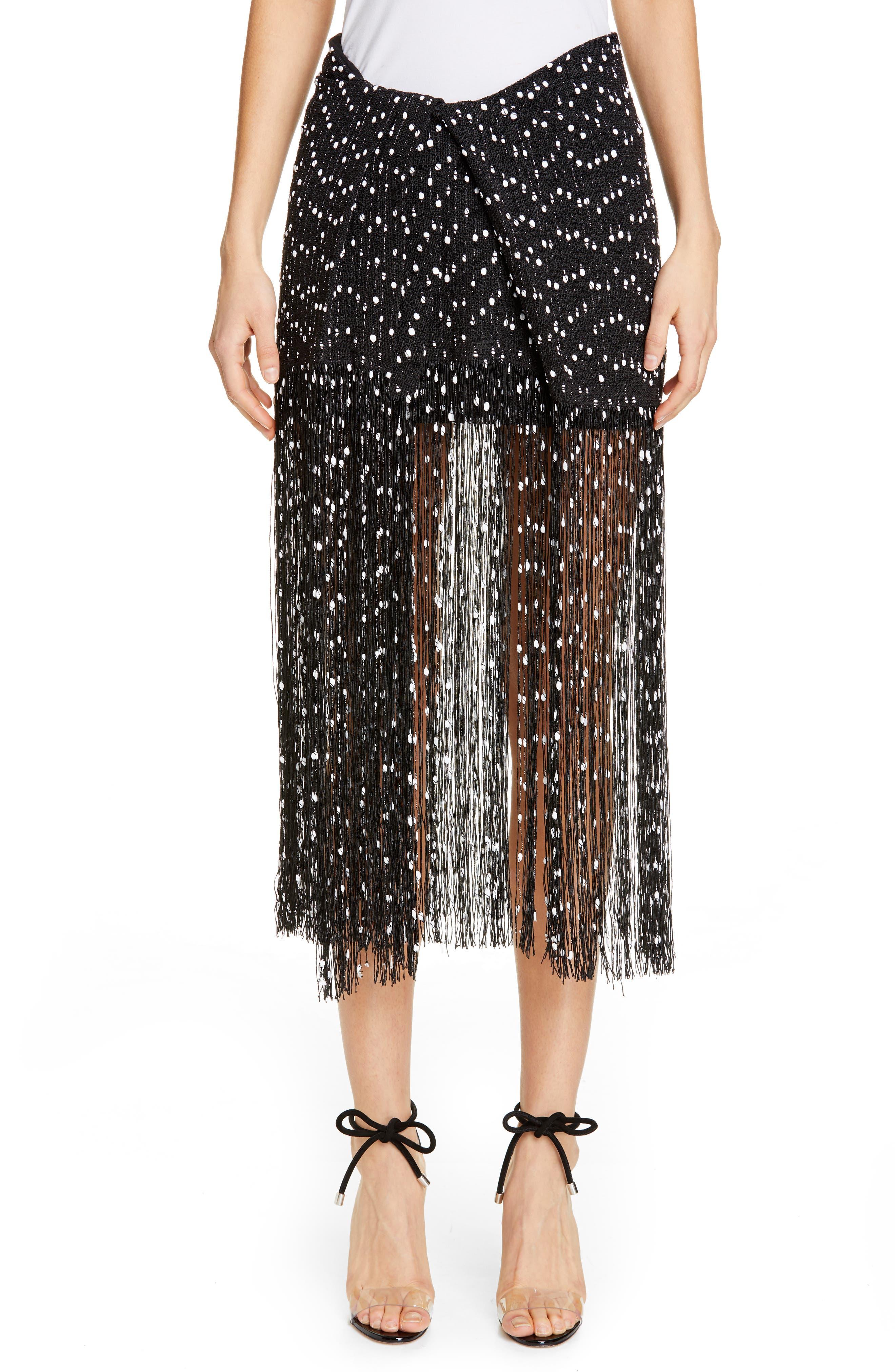 Jacquemus La Jupe Capri Fringe Skirt, 8 FR - Black