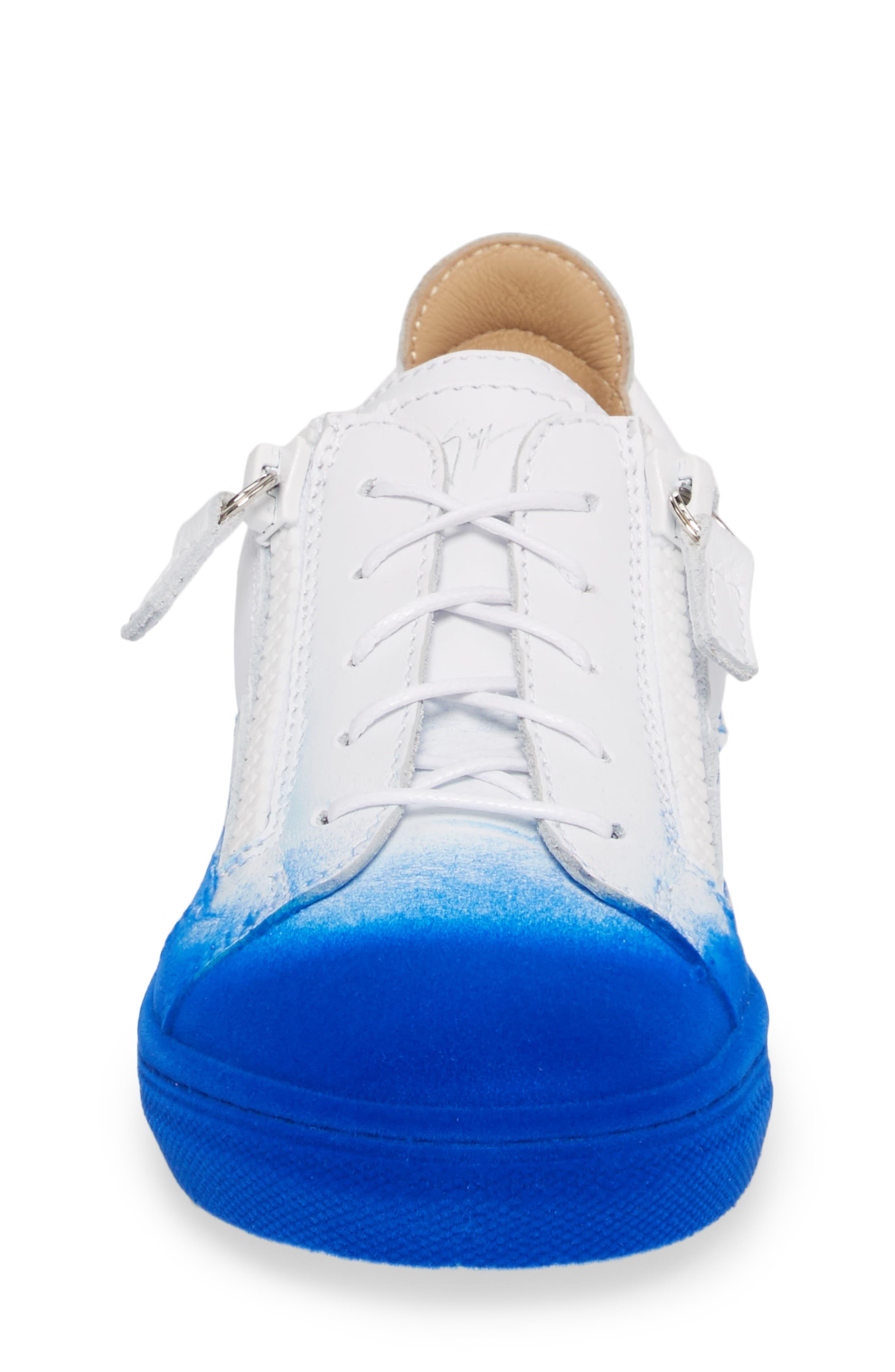 Smuggy Ombré Flocked Sneaker,                             Alternate thumbnail 4, color,                             BLUE/ WHITE