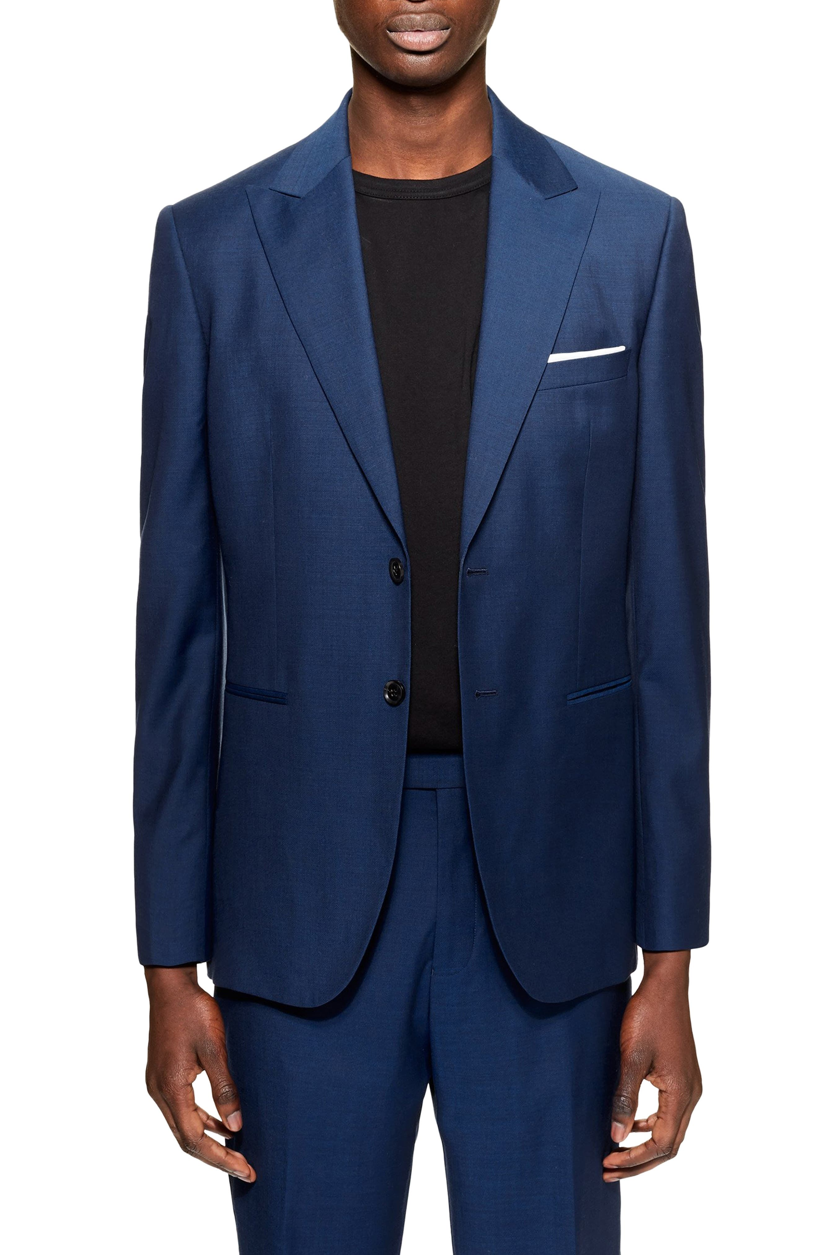 Casely Hayford Skinny Fit Suit Jacket, Main, color, NAVY BLUE
