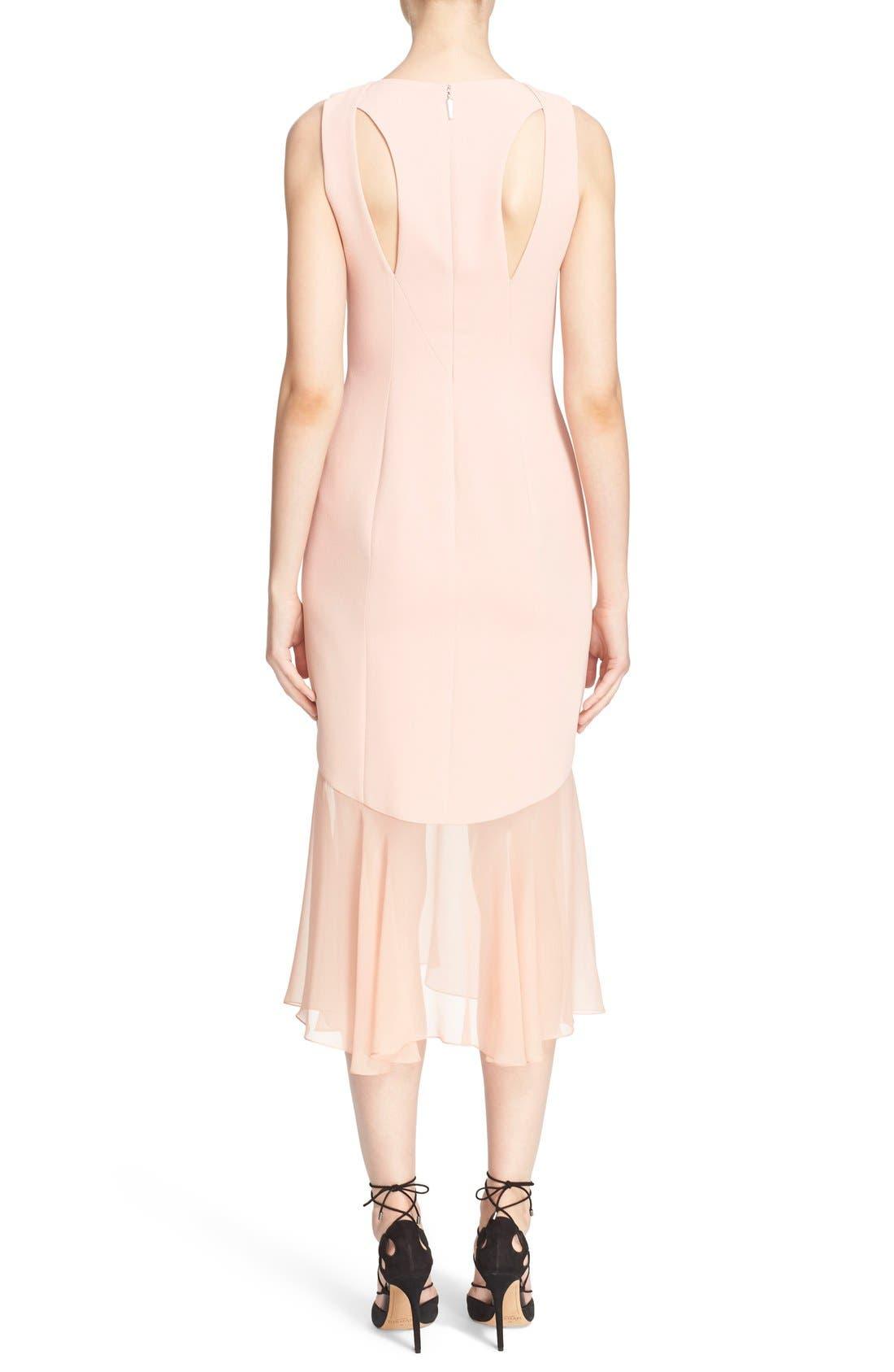 Sheer Hem Crepe Dress,                             Alternate thumbnail 3, color,                             650