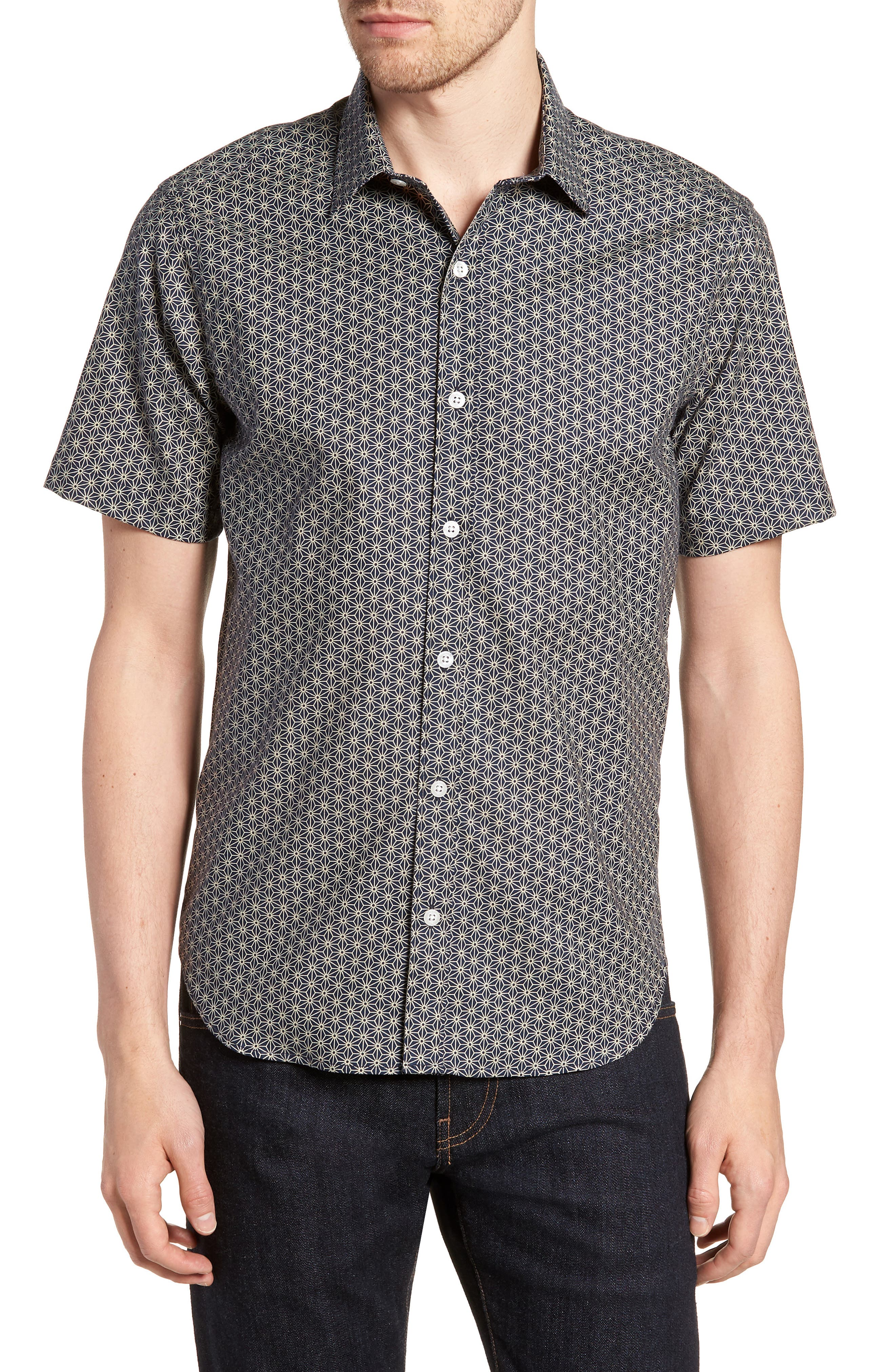 Clovis Novelty Tailored Fit Print Sport Shirt,                         Main,                         color, 409
