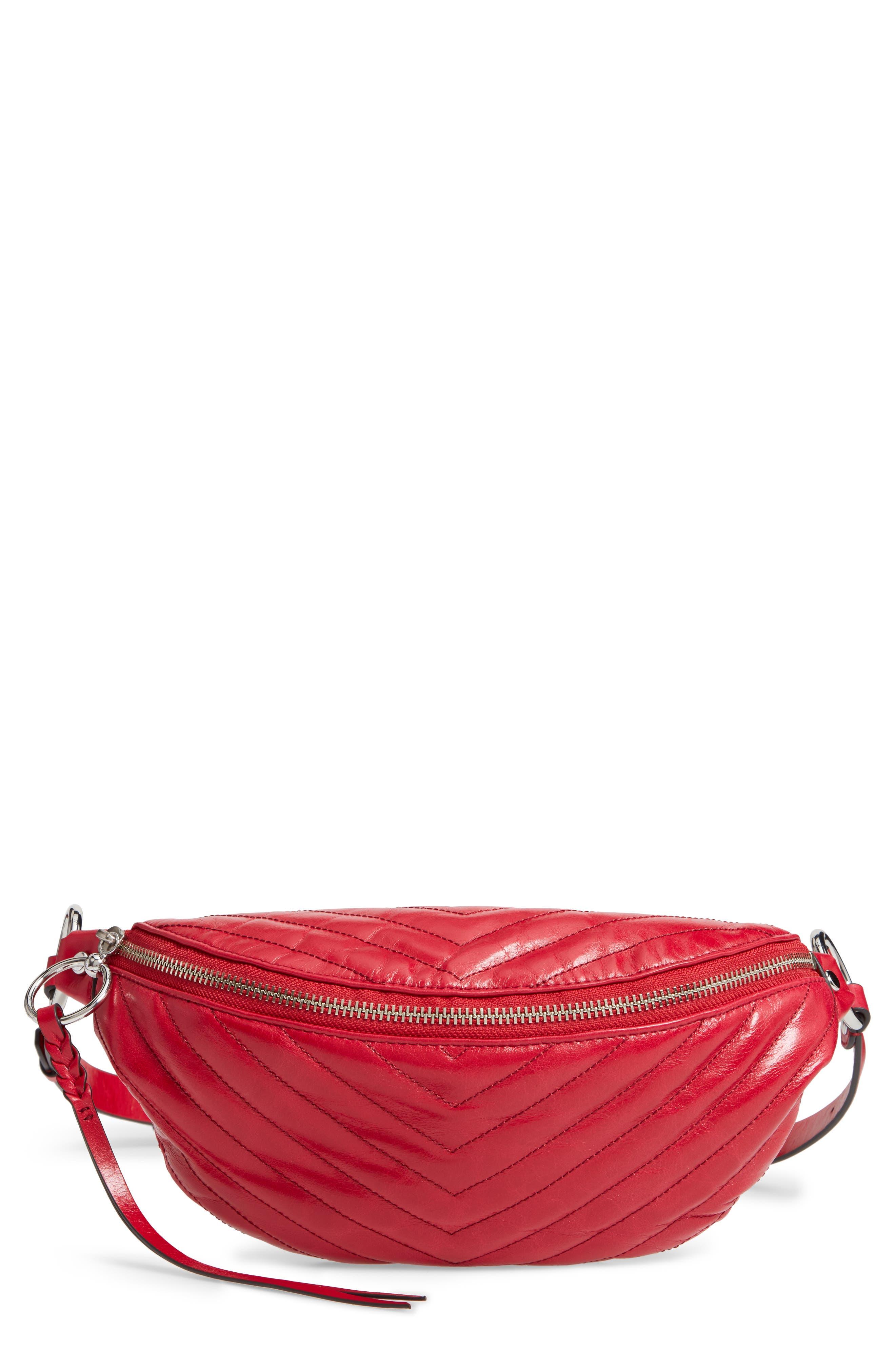Edie Leather Belt Bag,                         Main,                         color, SCARLET