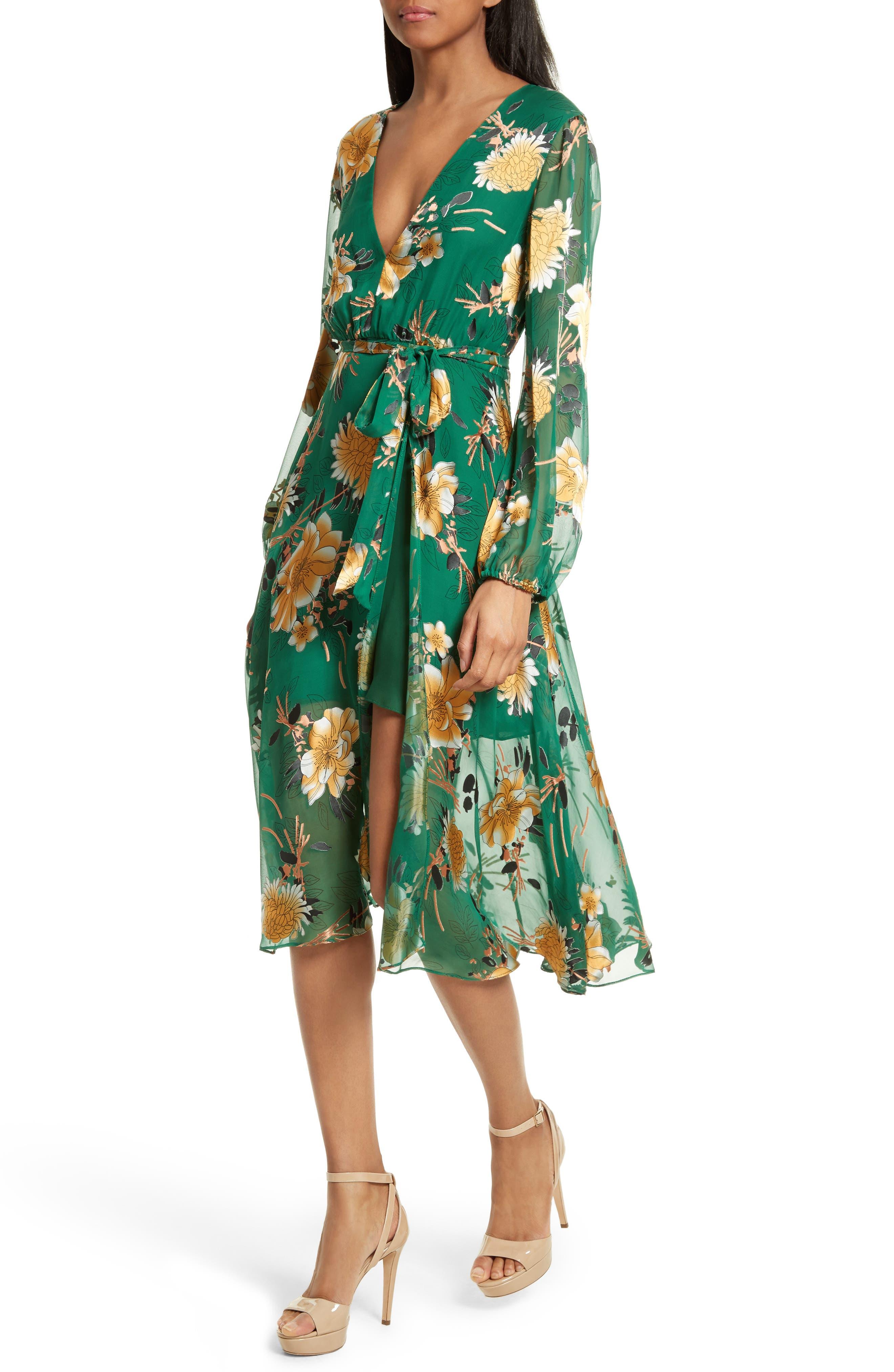 Coco Floral Print A-Line Dress,                             Alternate thumbnail 4, color,                             308