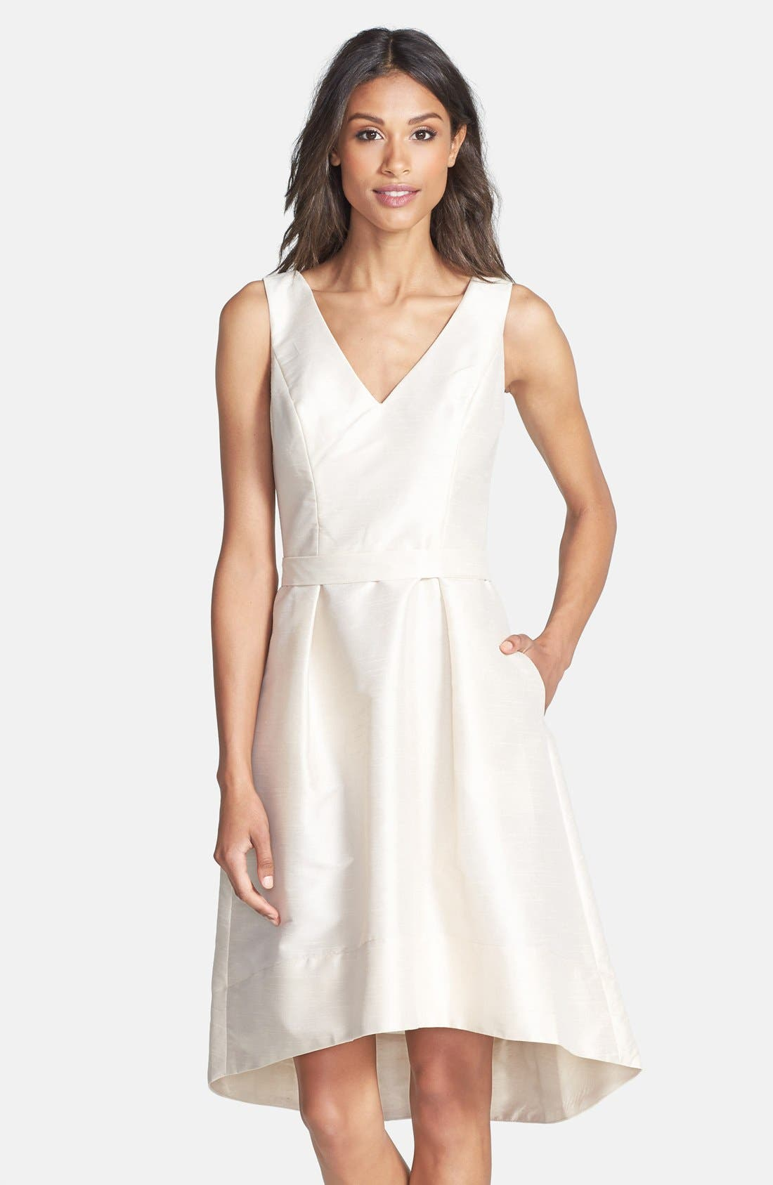 Satin High/Low Fit & Flare Dress,                             Main thumbnail 1, color,                             CHAMPAGNE