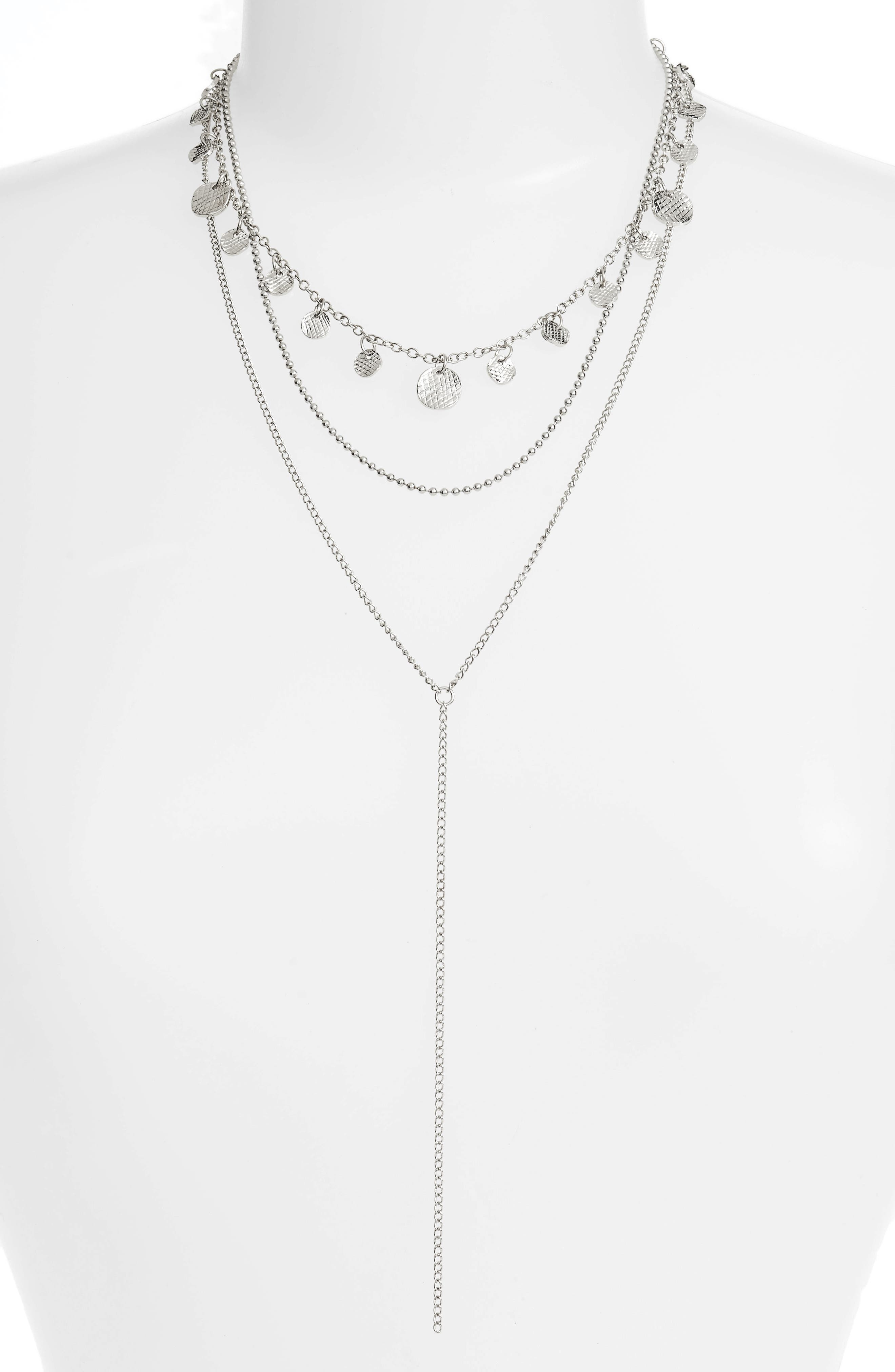Layered Lariat Necklace,                         Main,                         color, SILVER