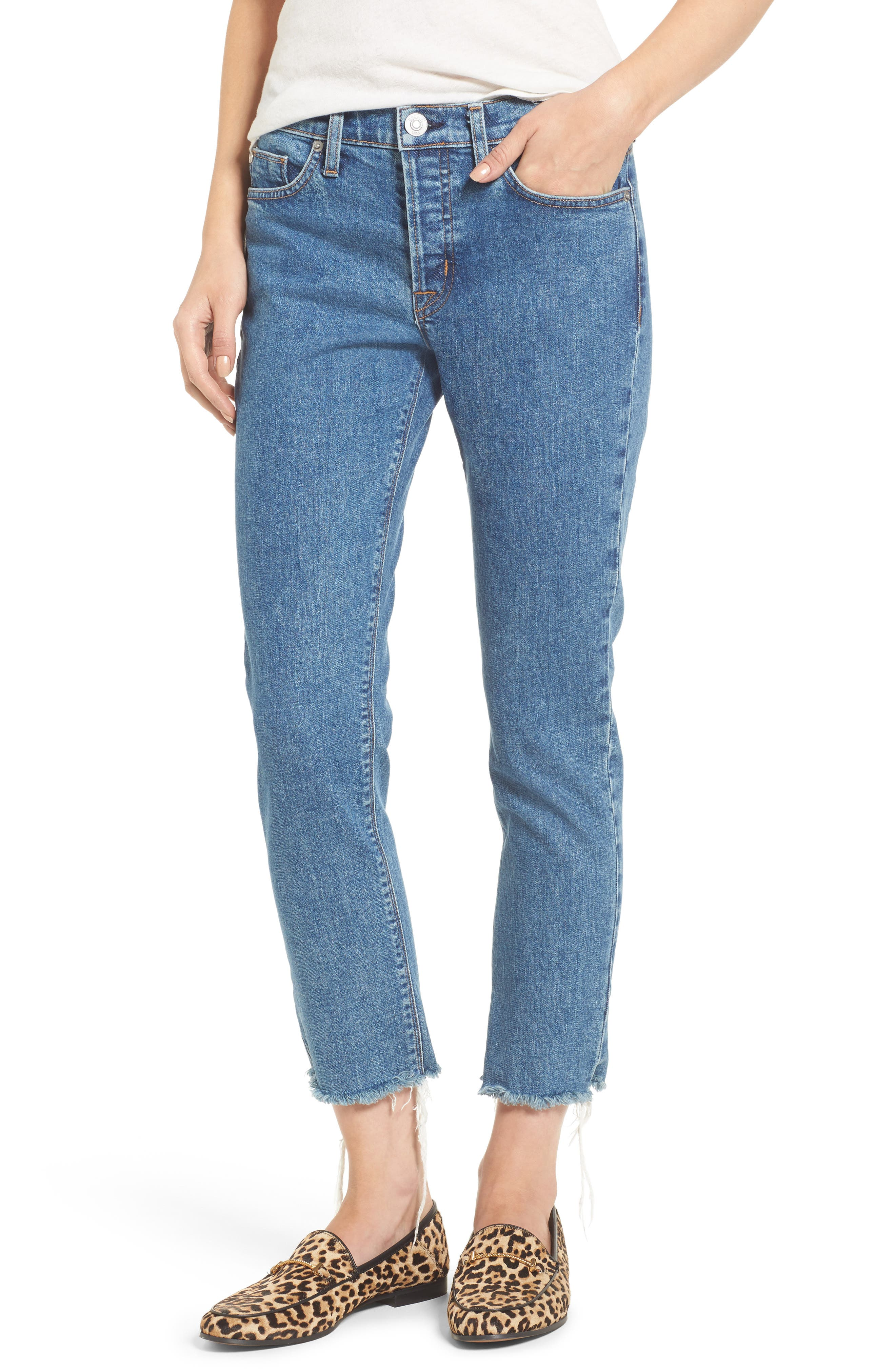 Riley Crop Relaxed Straight Leg Jeans,                         Main,                         color, 450