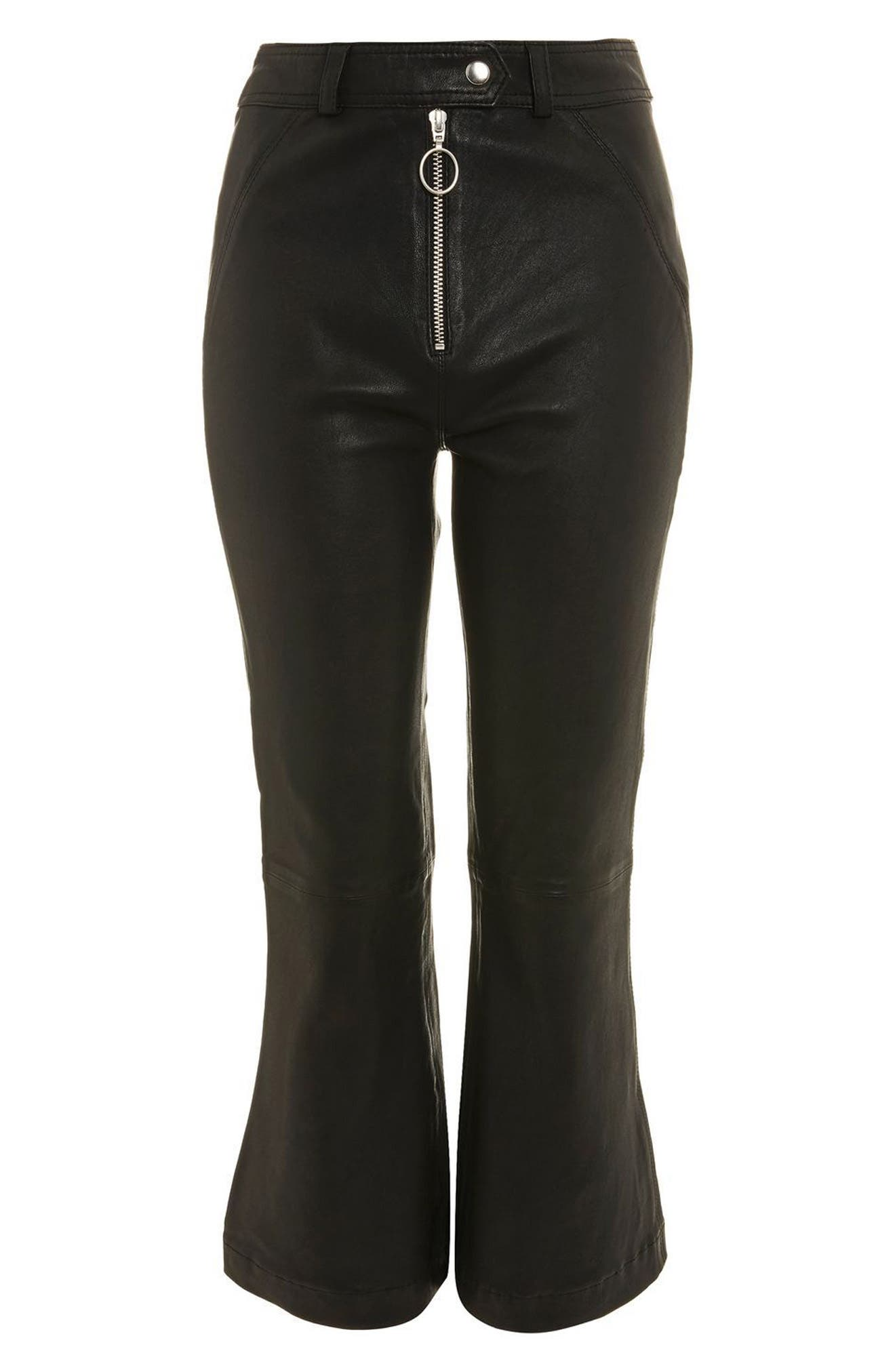 Premium Kick Flare Crop Leather Pants,                             Alternate thumbnail 6, color,