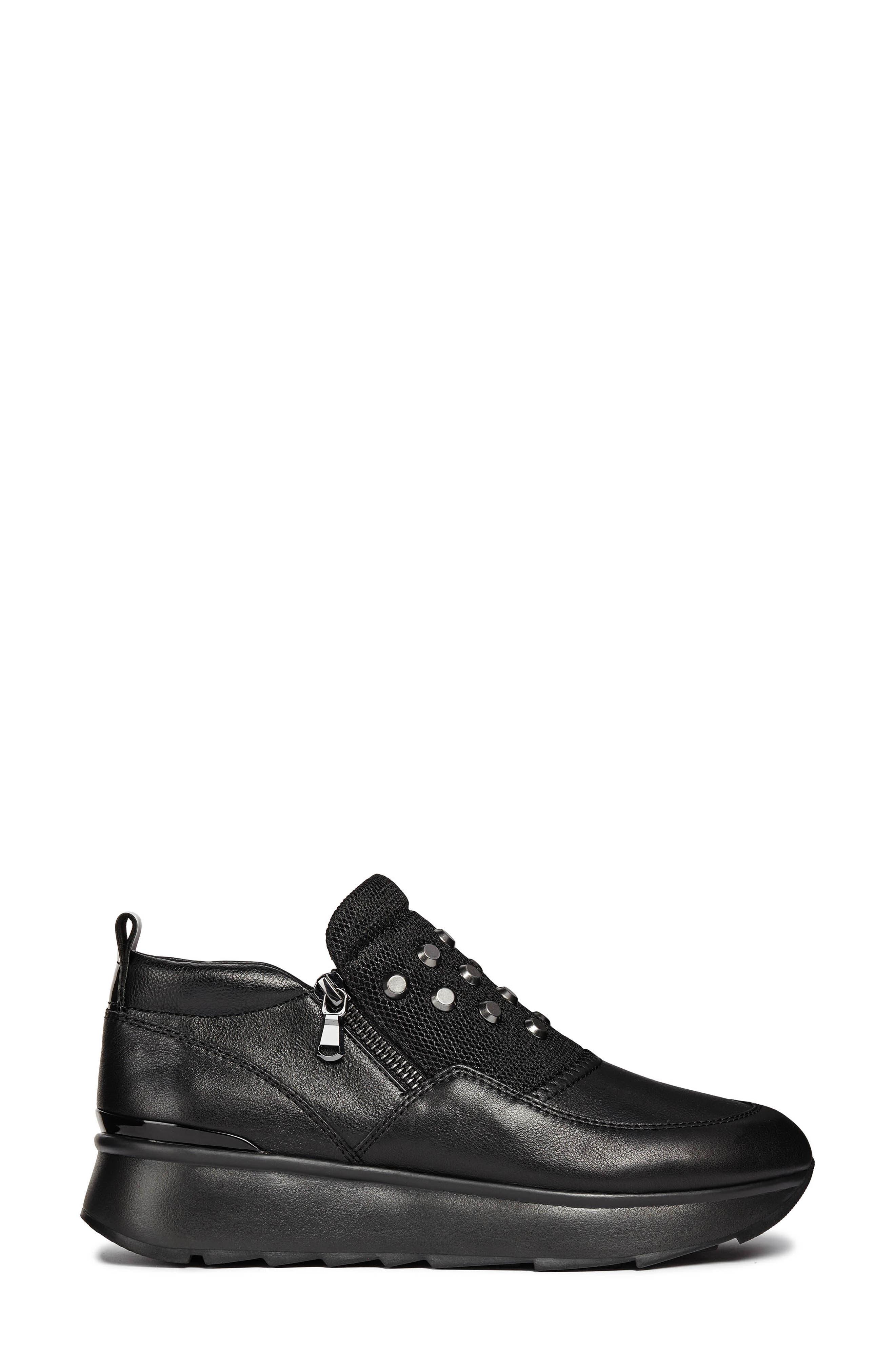 Gendry Sneaker,                             Alternate thumbnail 3, color,                             BLACK LEATHER