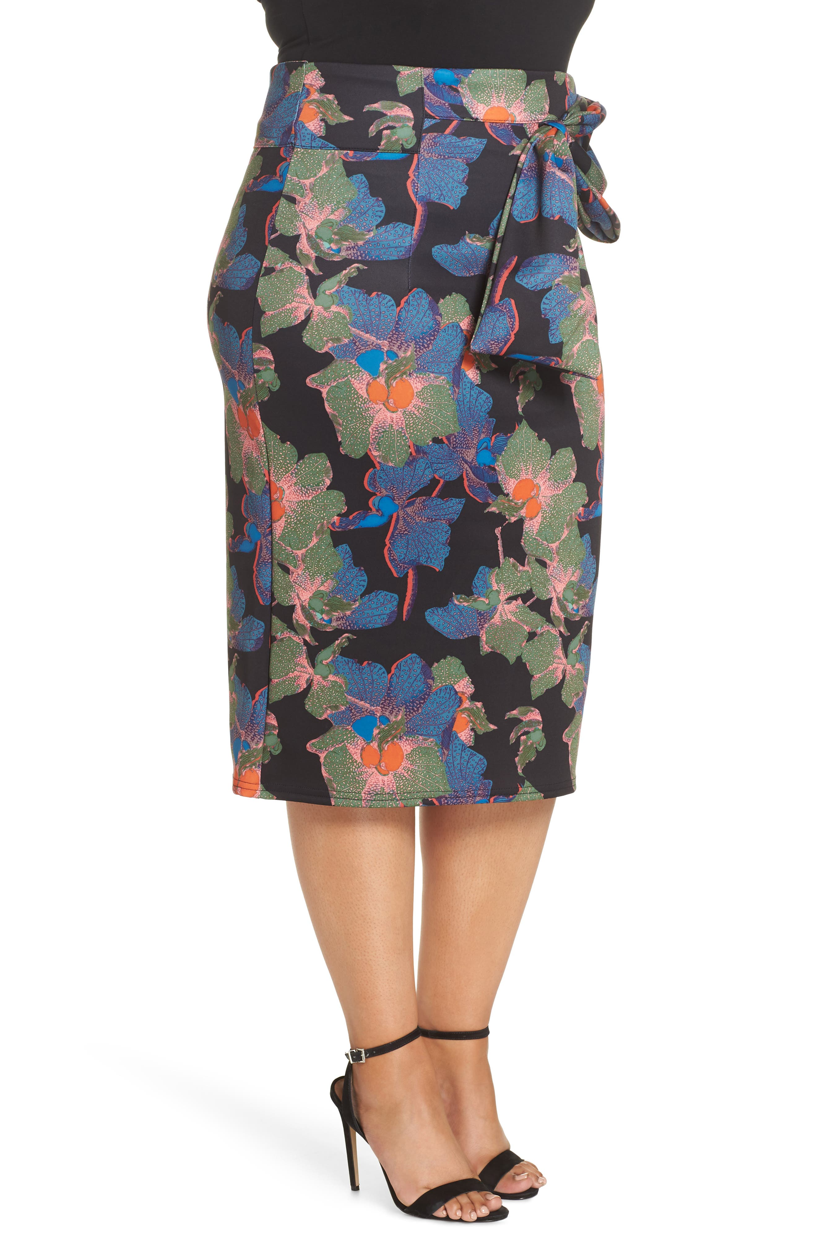 Ivy Floral Bow Detail Pencil Skirt,                             Alternate thumbnail 3, color,                             300