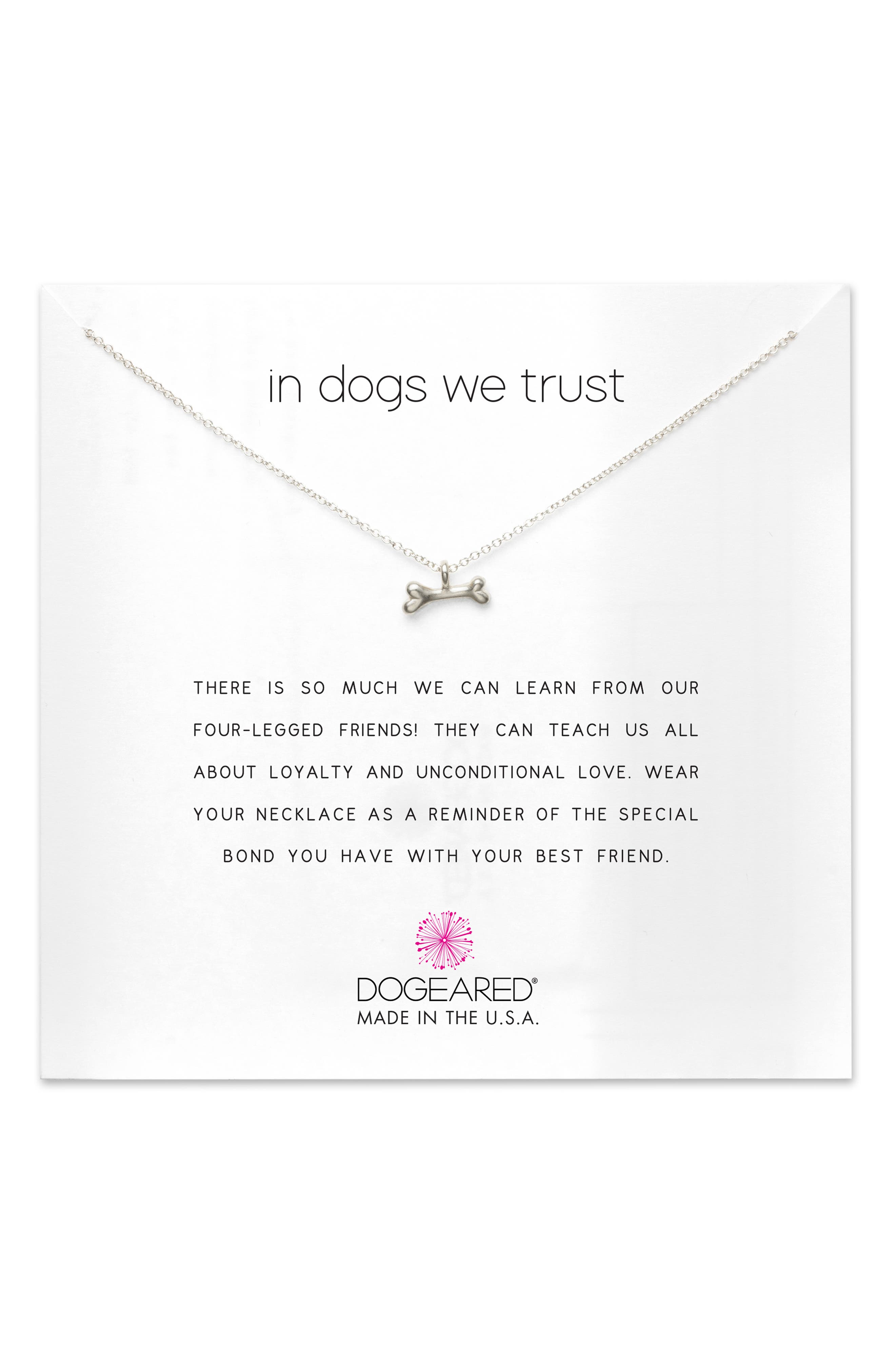 In Dogs We Trust Pendant Necklace,                             Main thumbnail 1, color,                             043