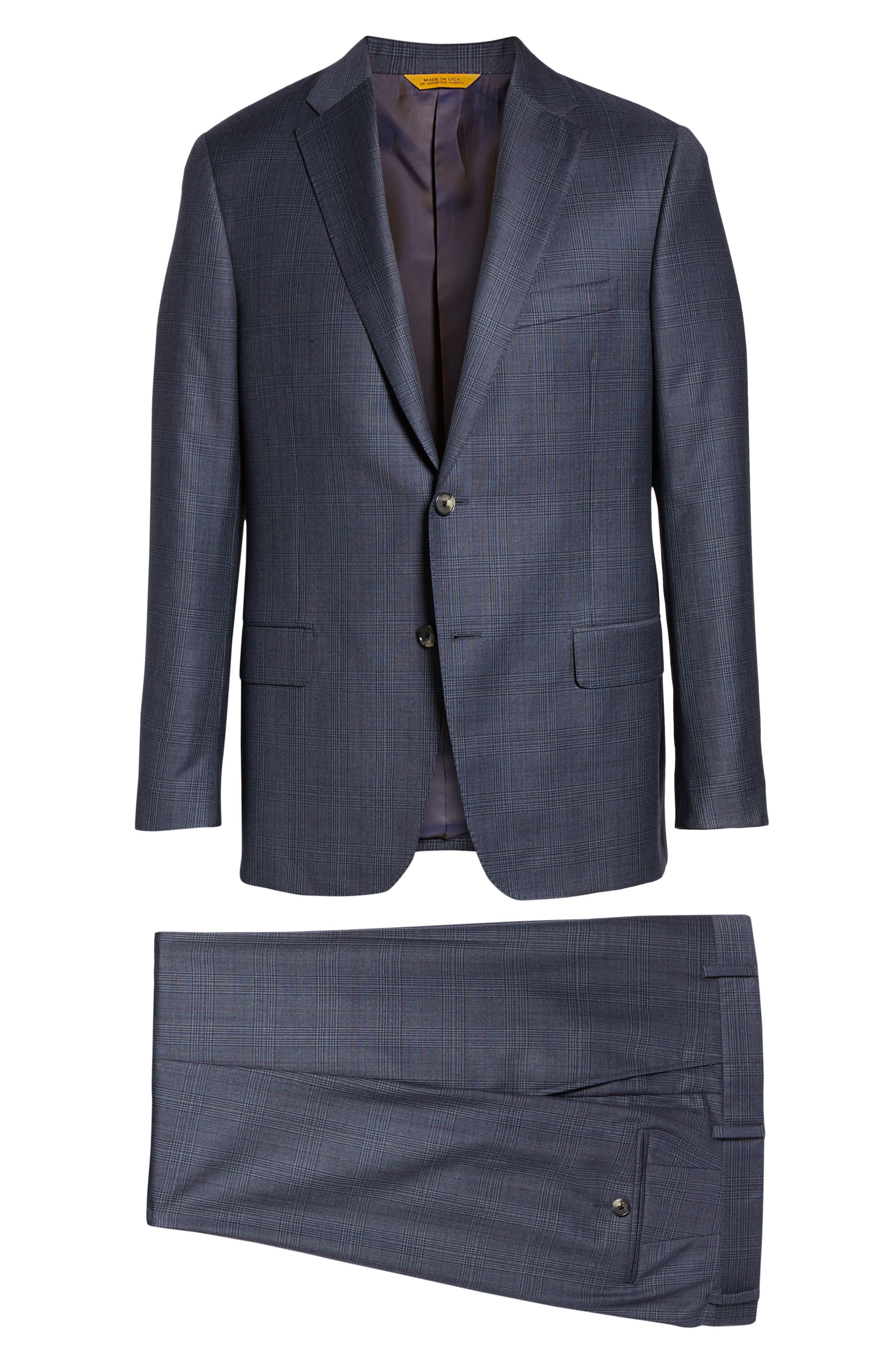 Classic Fit Plaid Wool Suit,                             Alternate thumbnail 8, color,                             GREY