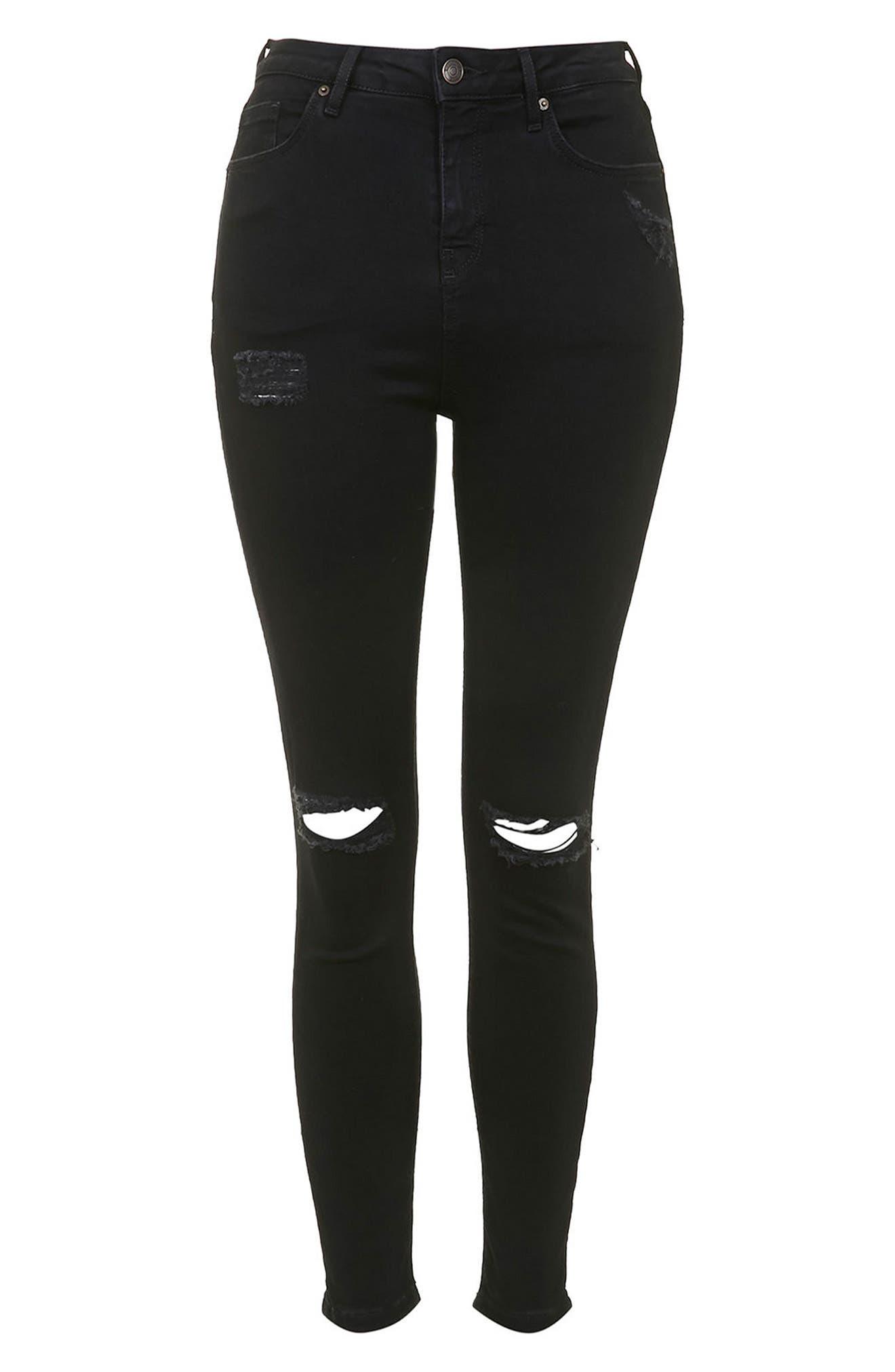 Moto Jamie Ripped Jeans,                             Alternate thumbnail 4, color,                             BLACK