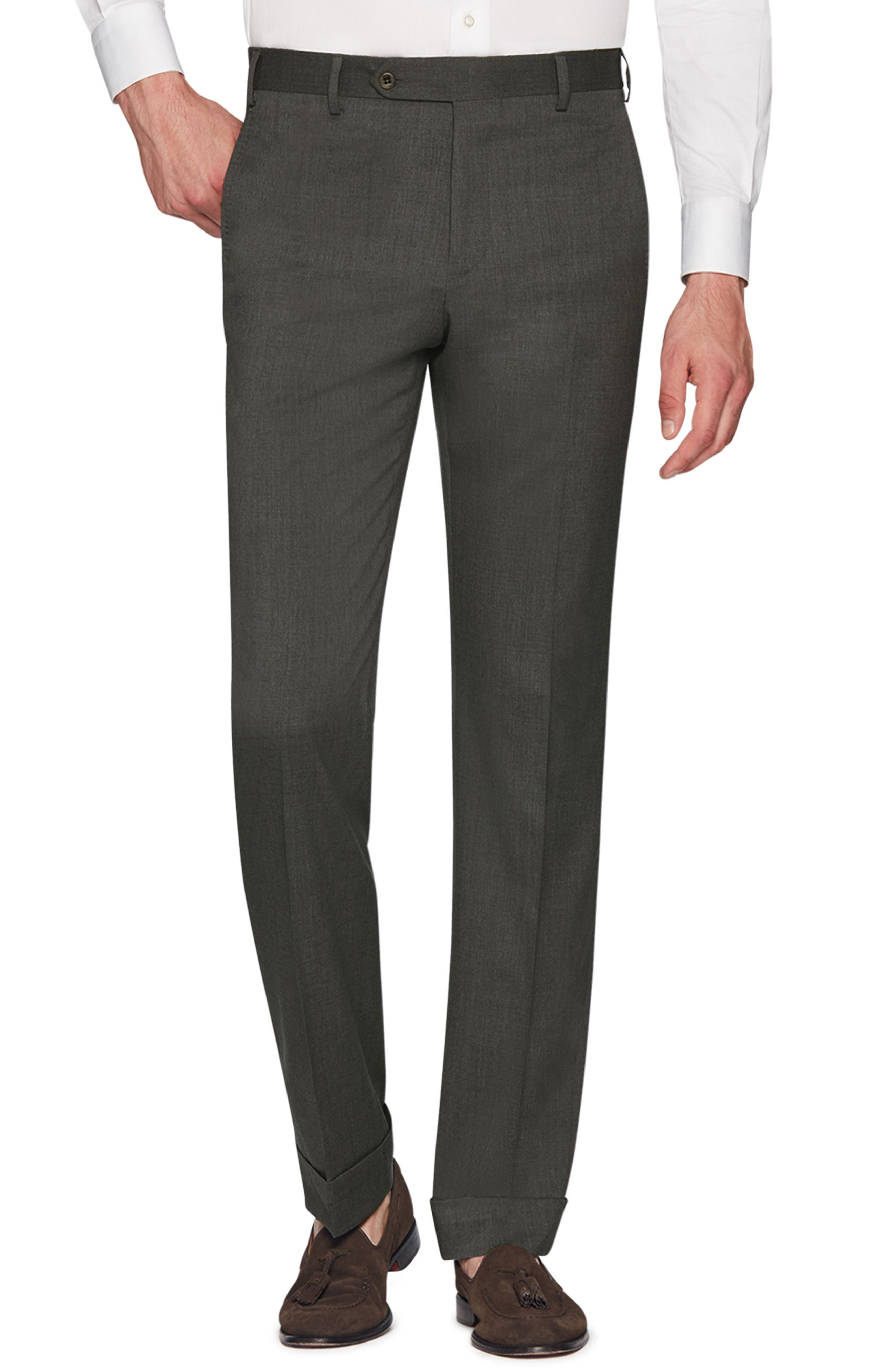 ZANELLA Devon Flat Front Stretch Solid Wool Trousers in Olive