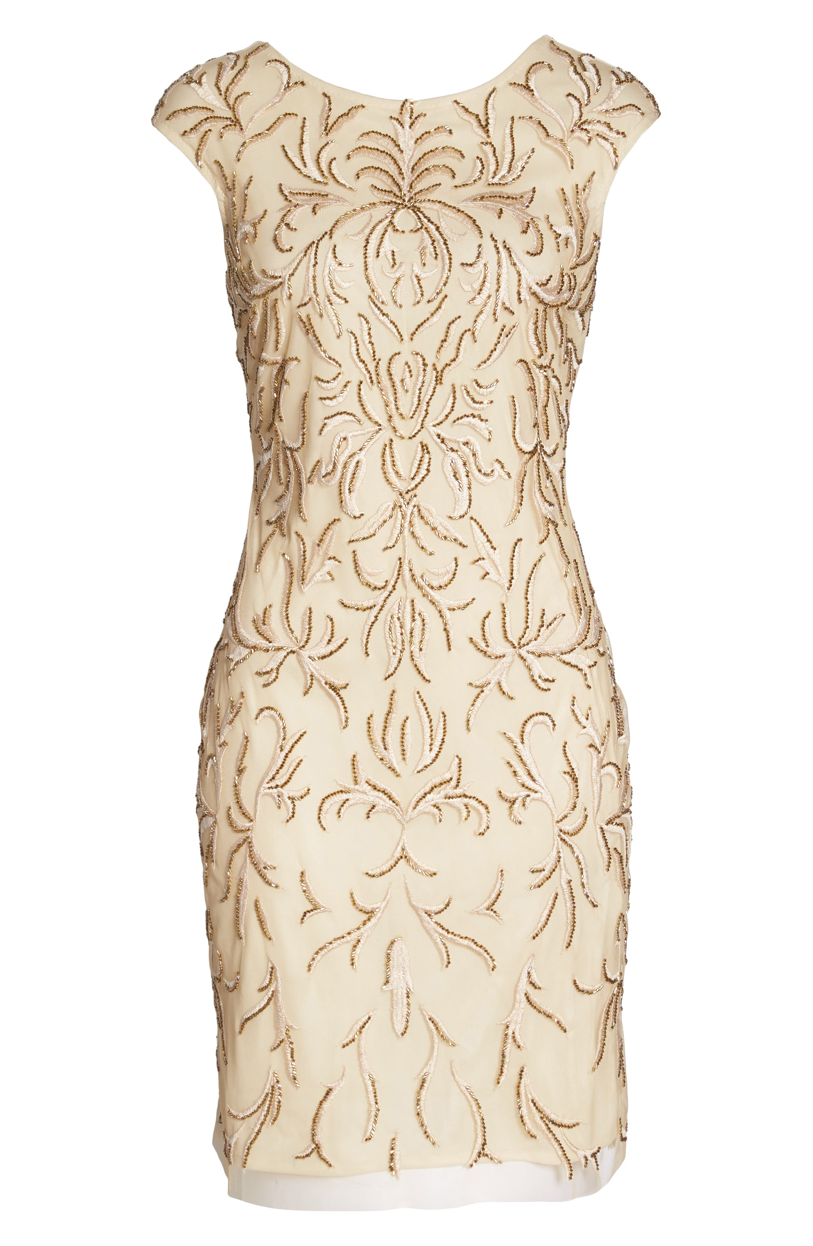 Beaded & Embroidered Cocktail Dress,                             Alternate thumbnail 7, color,                             CHAMPAGNE