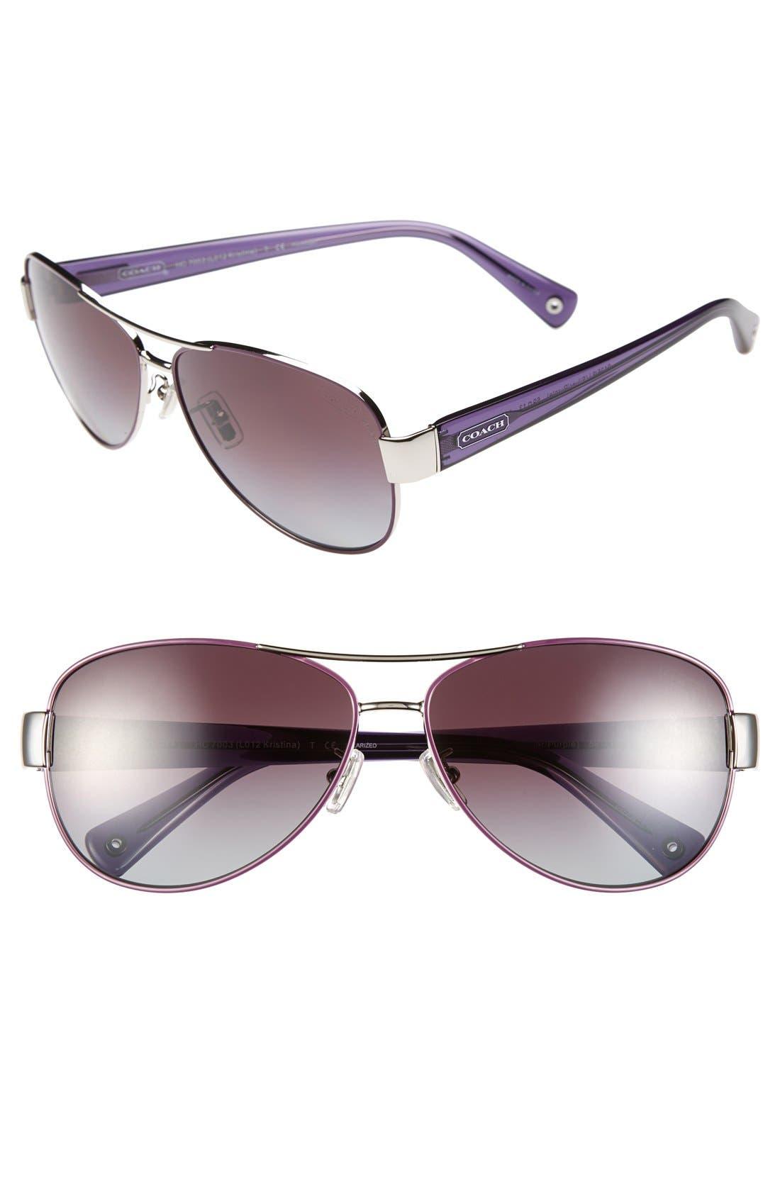 59mm Double Bridge Polarized Aviator Sunglasses,                         Main,                         color, 040