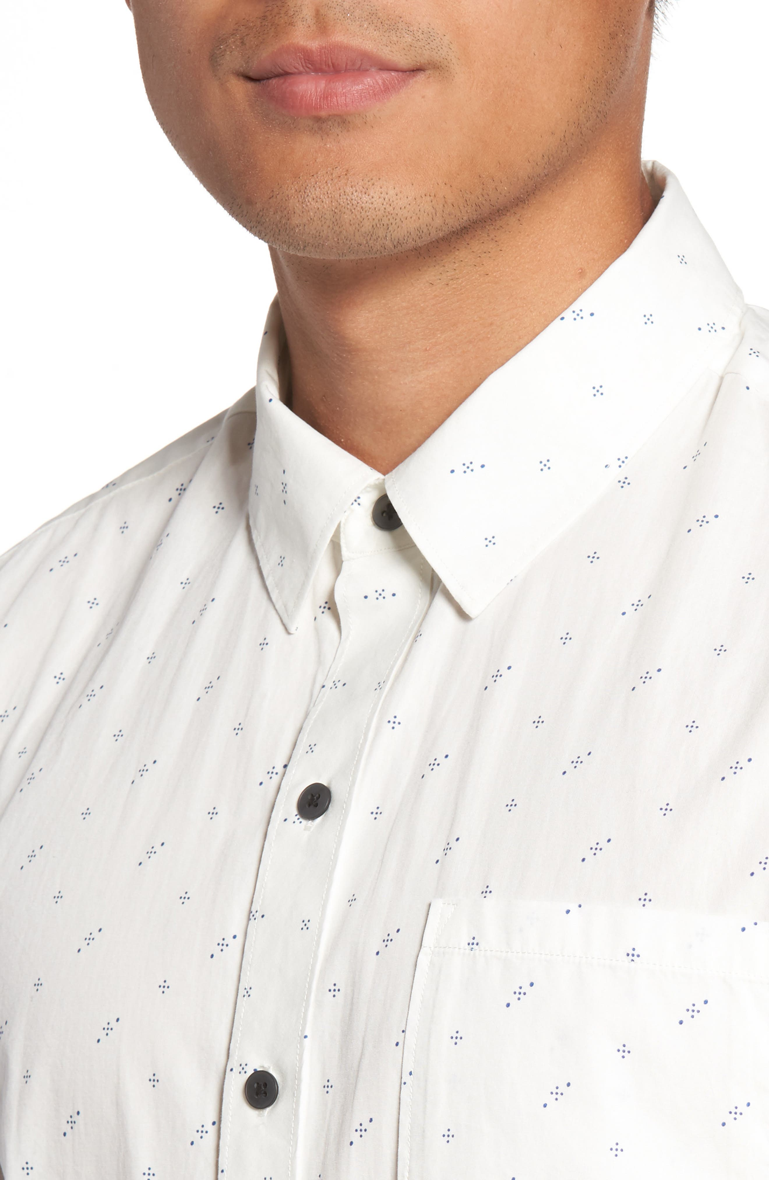 Becker Dot Print Woven Shirt,                             Alternate thumbnail 4, color,                             140