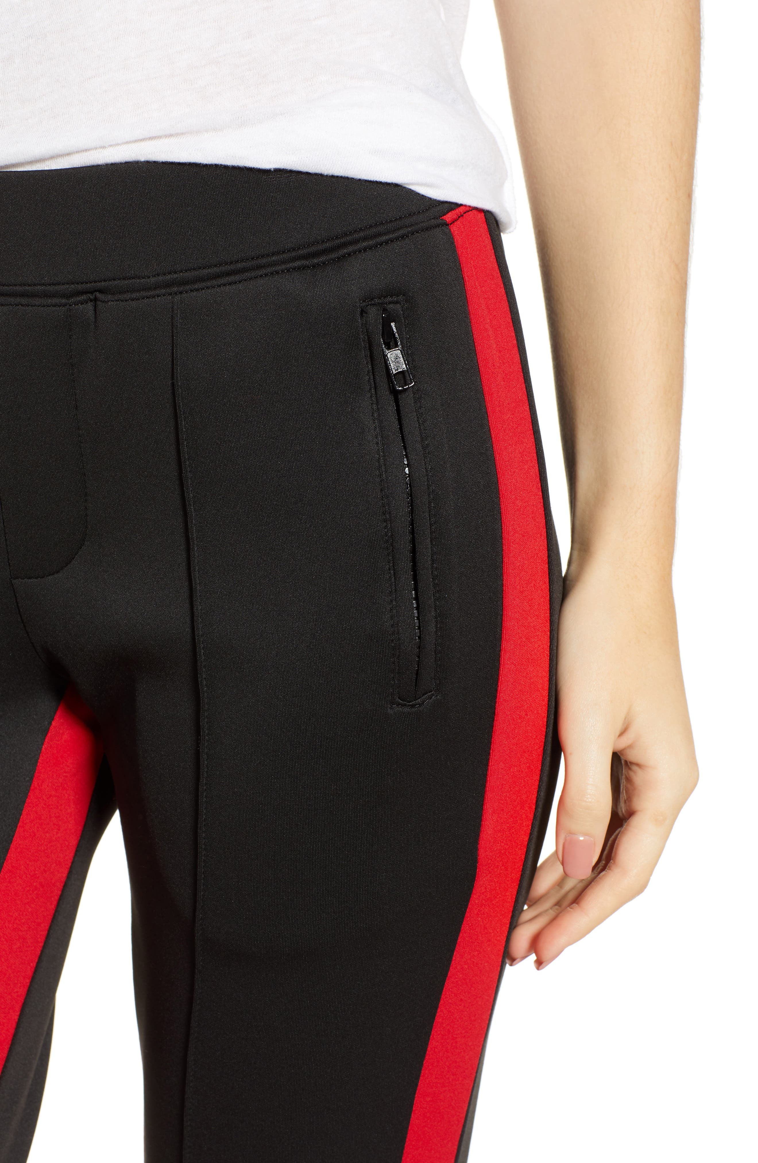 Side Stripe Cigarette Track Pants,                             Alternate thumbnail 4, color,                             BLACK