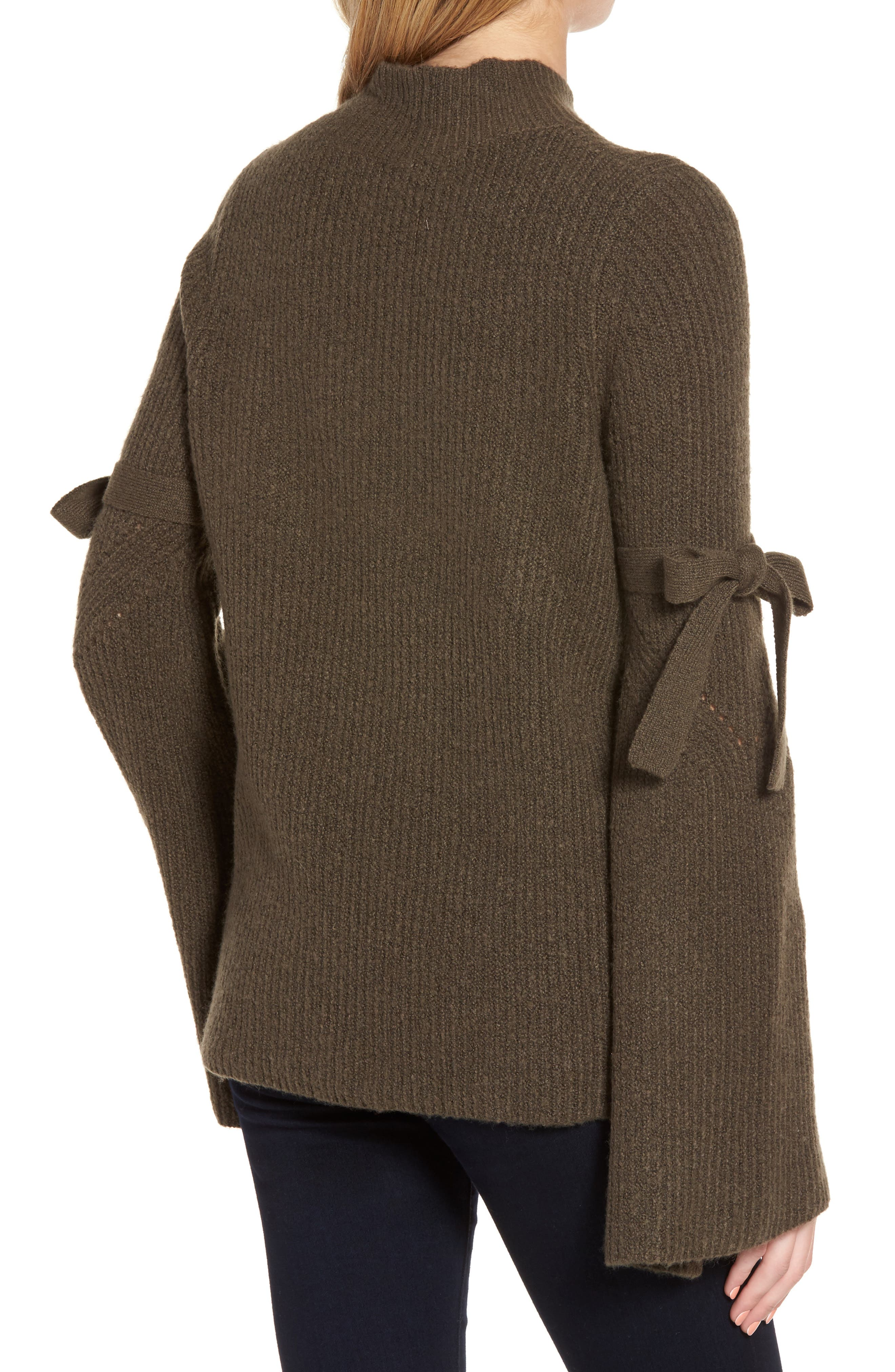 Tie Bell Sleeve Sweater,                             Alternate thumbnail 4, color,