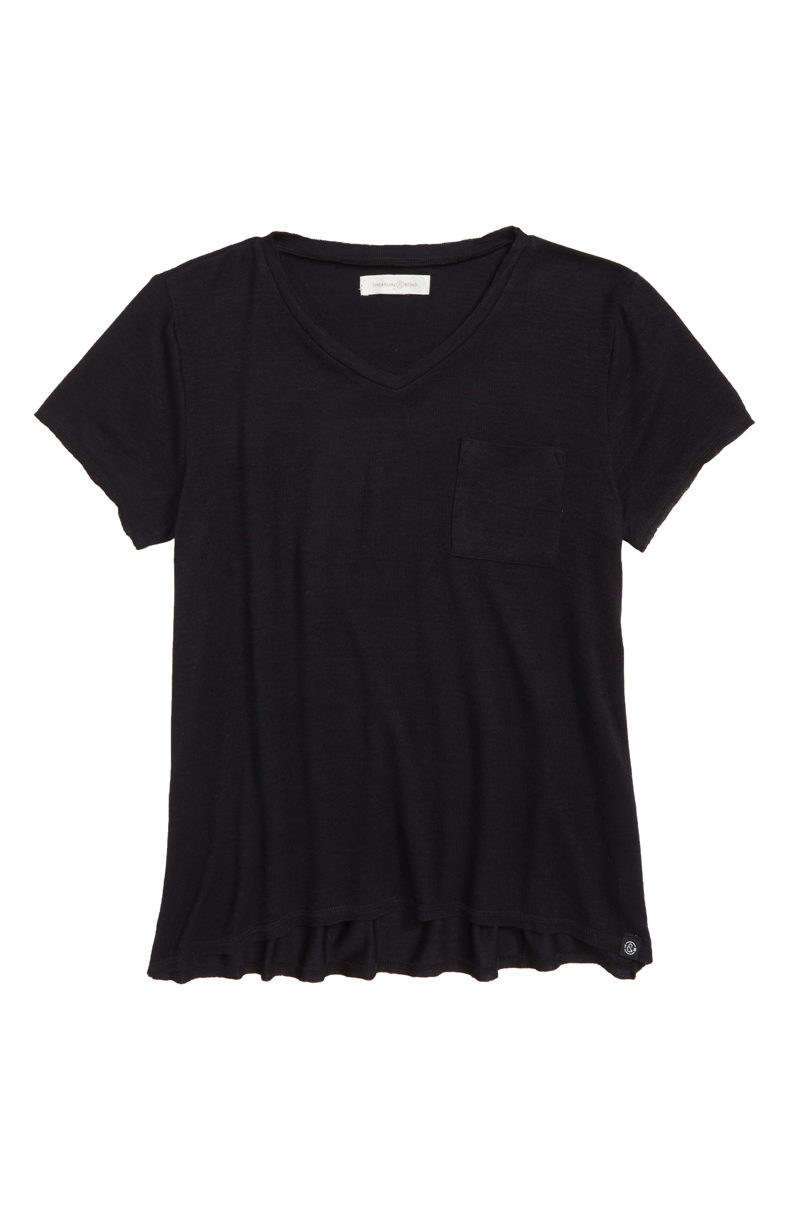 Oversized Pocket Tee,                         Main,                         color, BLACK ROCK