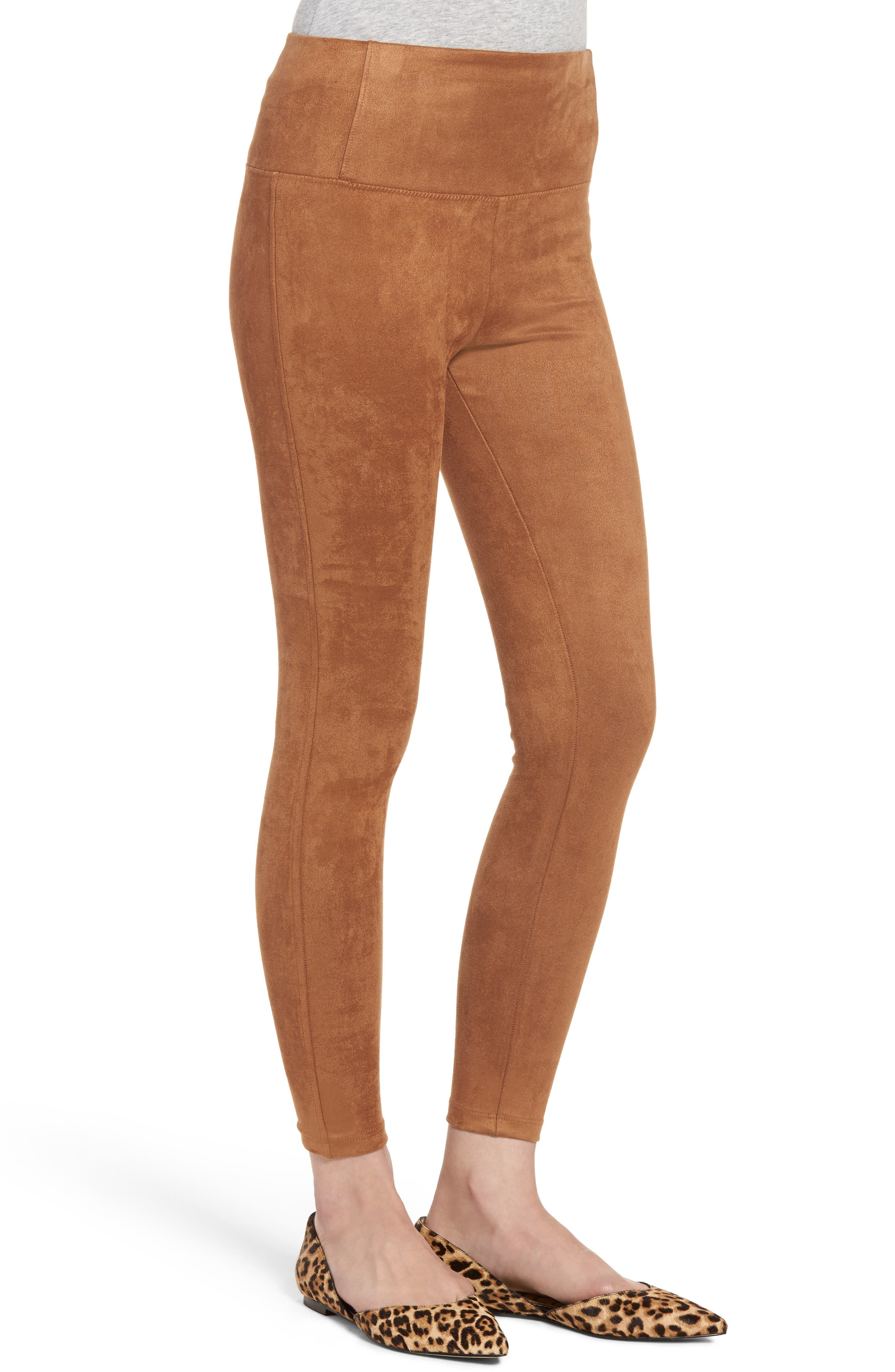 Elliot High Waist Crop Faux Suede Leggings,                             Alternate thumbnail 6, color,
