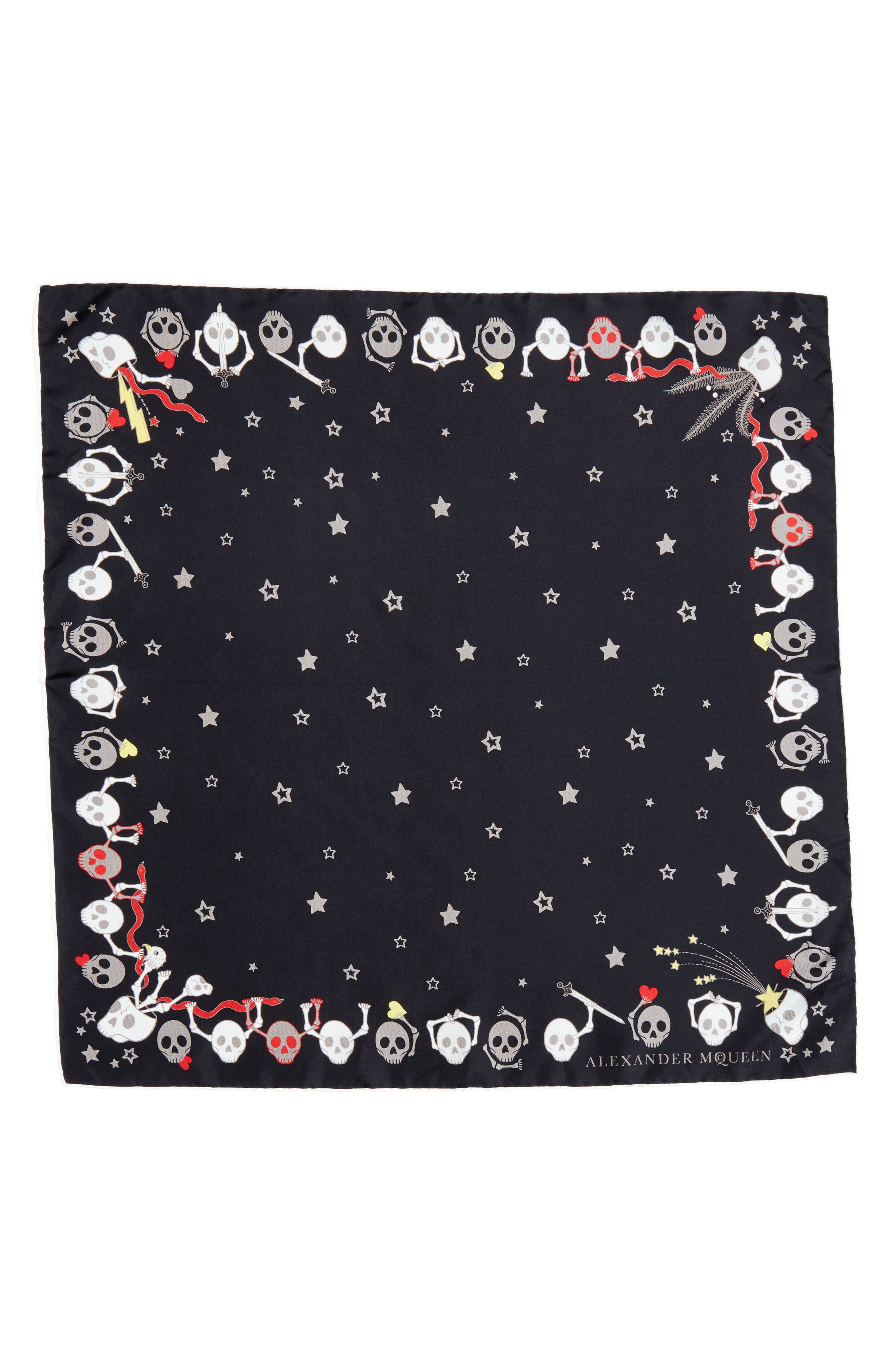 Party Skull Silk Square Scarf,                             Main thumbnail 1, color,                             001